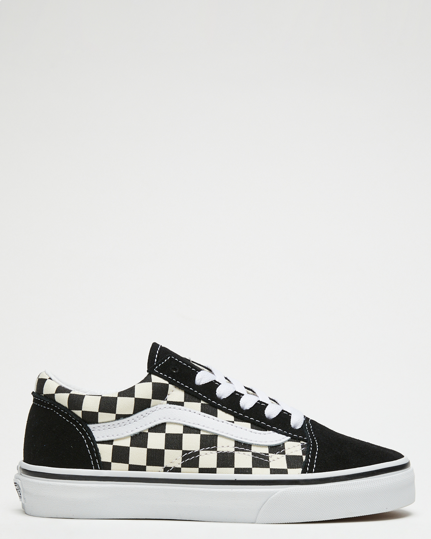 Vans Old Skool Primary Check Shoe - Youth Black White