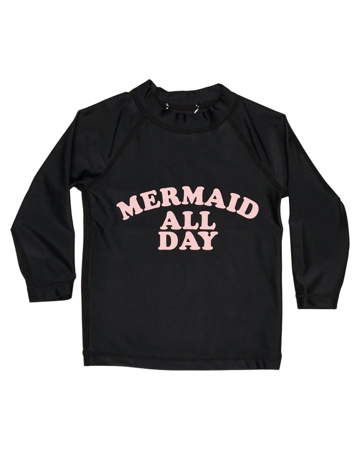Billabong Tots Girls Mermaid All Day Rash Vest Black 9351324443945