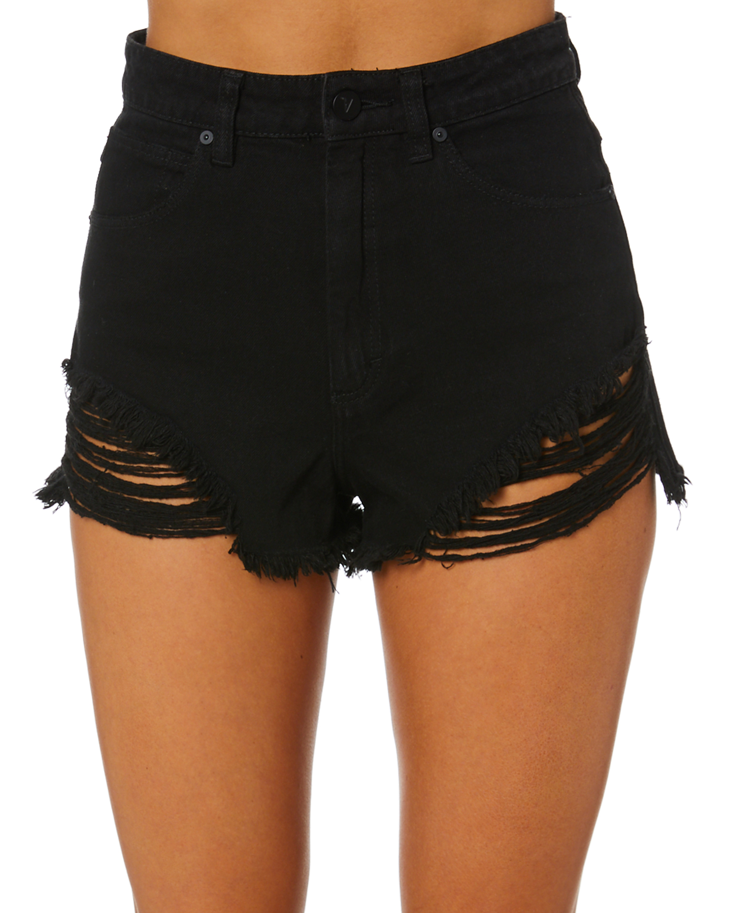 Image of A.Brand A High Relaxed Womens Denim Short Salty Black