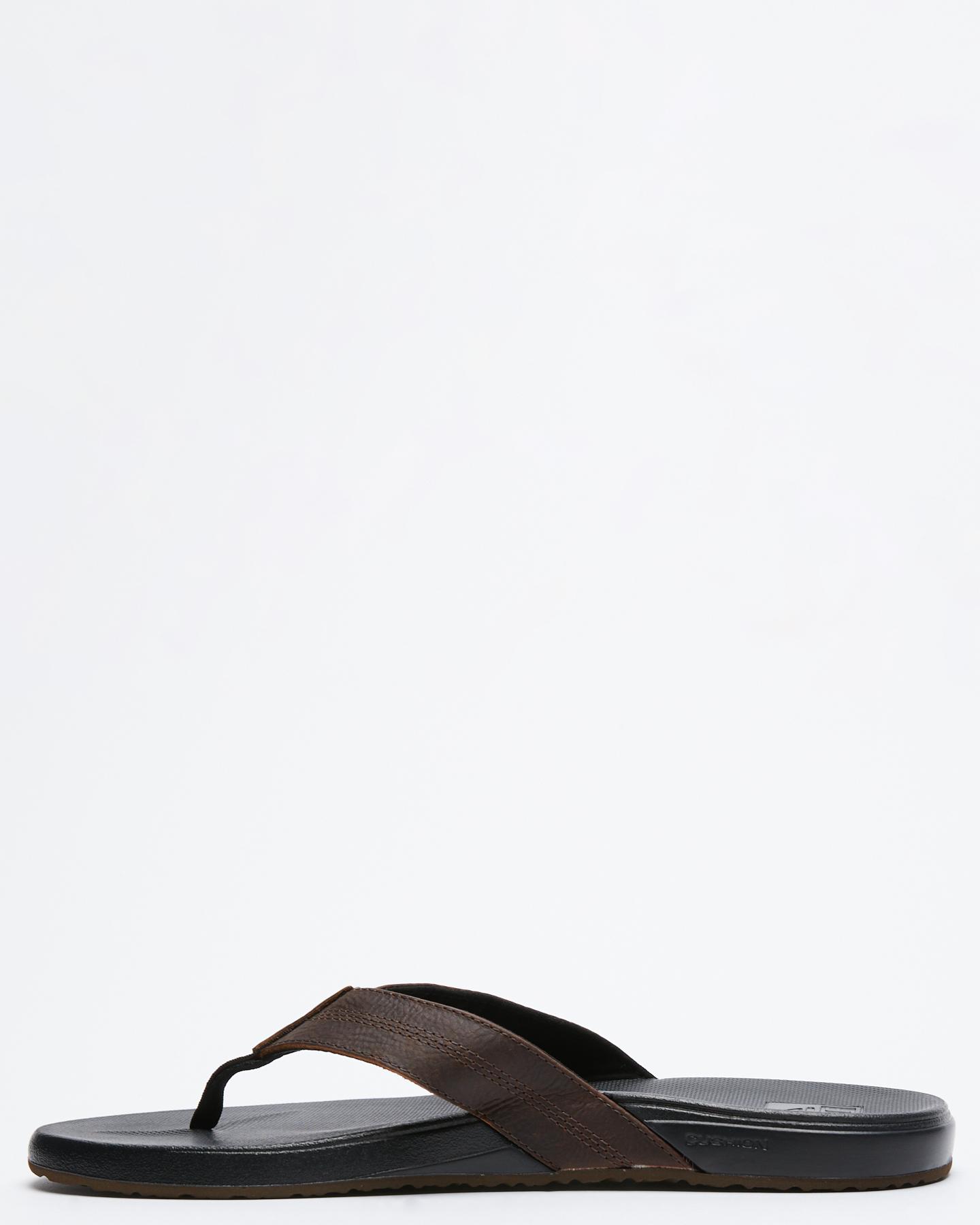 3cc707a326ef7 New Reef Men s Cushion Bounce Phantom Leather Thong Rubber Black