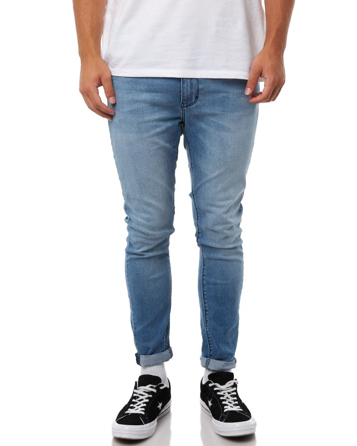 Image of A.Brand A Dropped Skinny Turn Up Mens Jean Rebel Blue