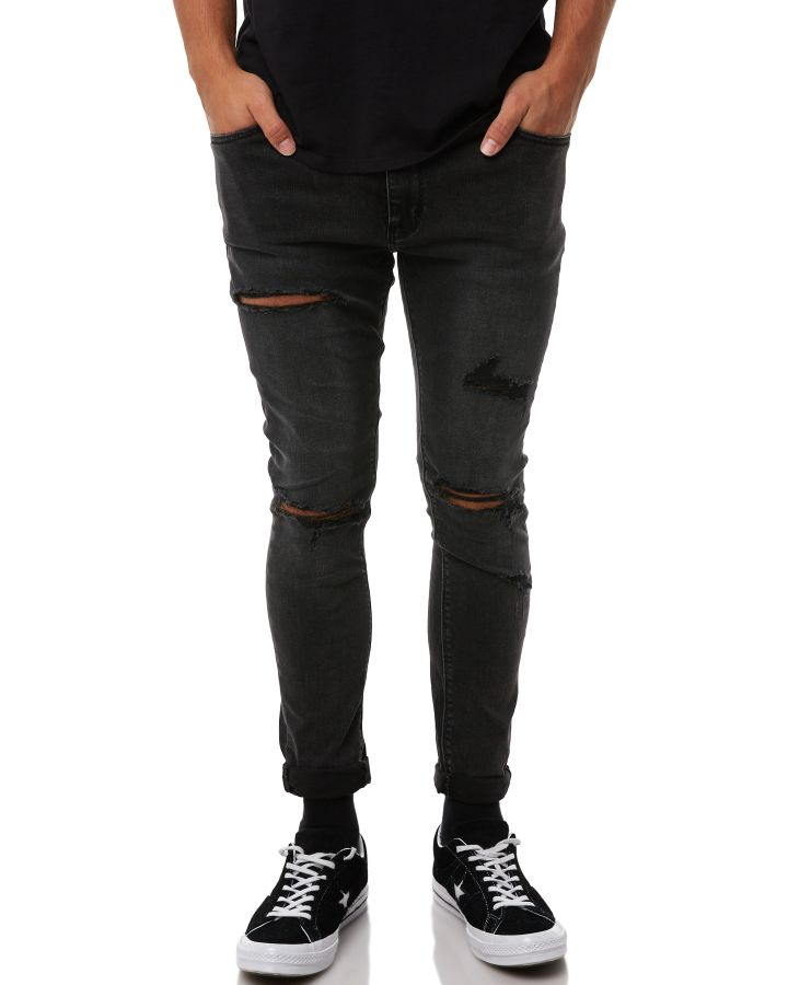Image of A.Brand A Dropped Skinny Turn Up Mens Jean Howling Black