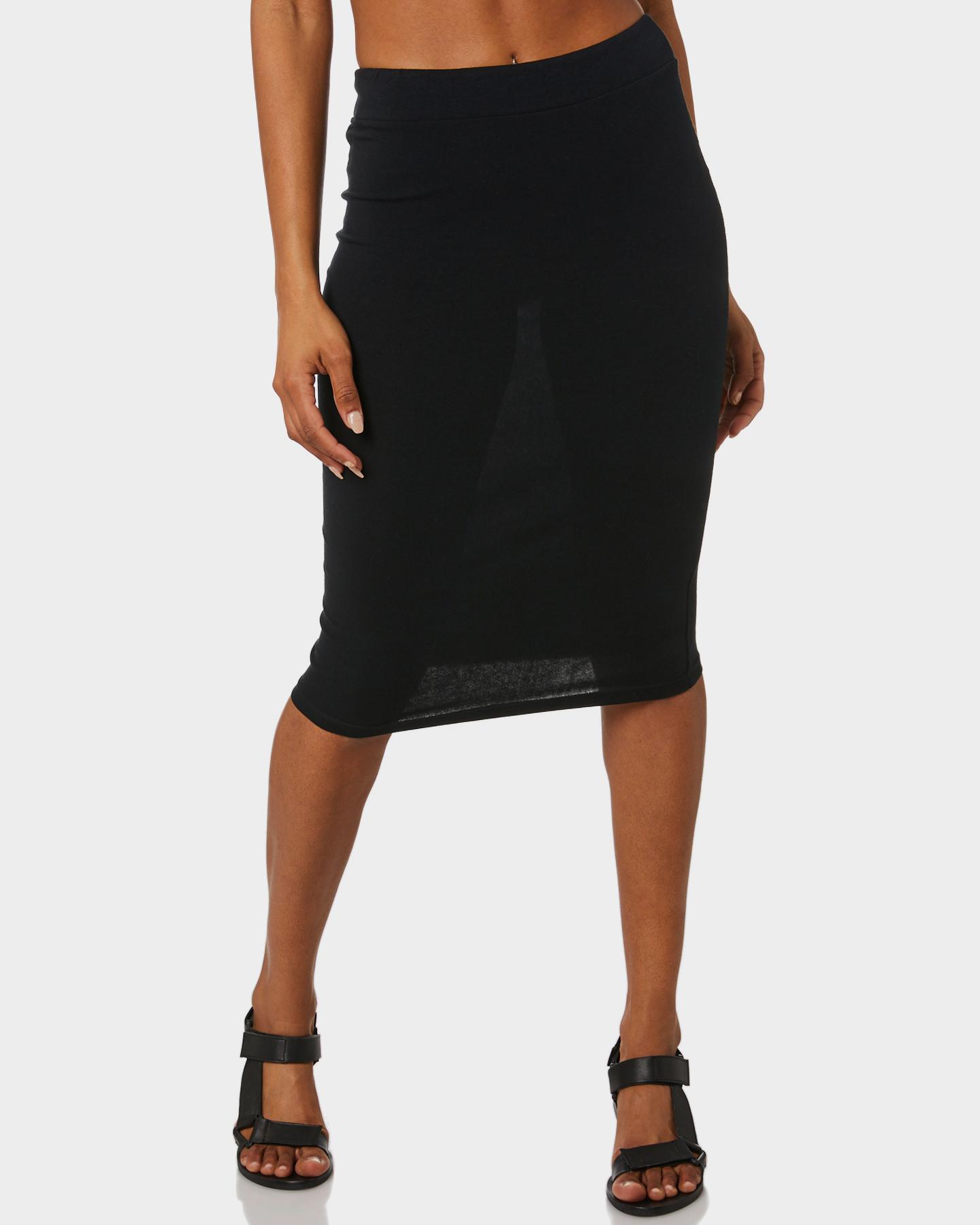 New-Betty-Basics-Women-039-s-Alicia-Midi-Skirt-Cotton-Elastane-Black