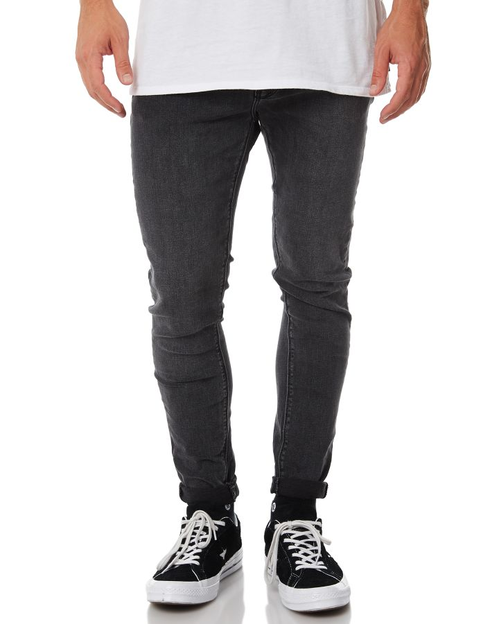Image of A.Brand A Dropped Skinny Turn Up Mens Jean Rebel Black