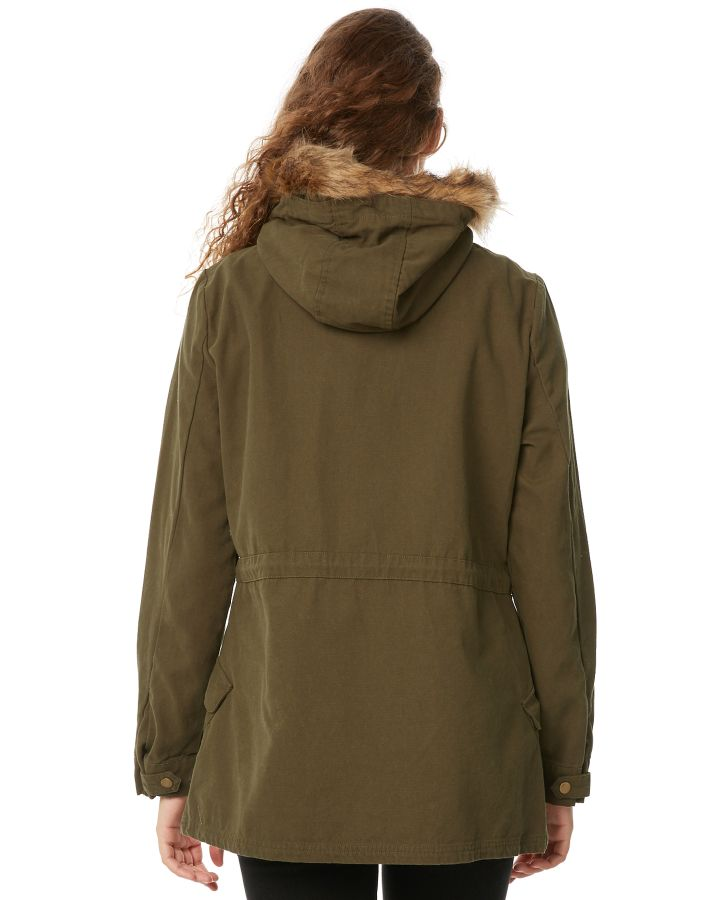 New-Swell-Women-039-s-Fleur-Hooded-Anorak-Cotton-Canvas-Grey thumbnail 18