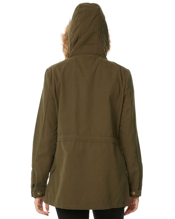 New-Swell-Women-039-s-Fleur-Hooded-Anorak-Cotton-Canvas-Grey thumbnail 19