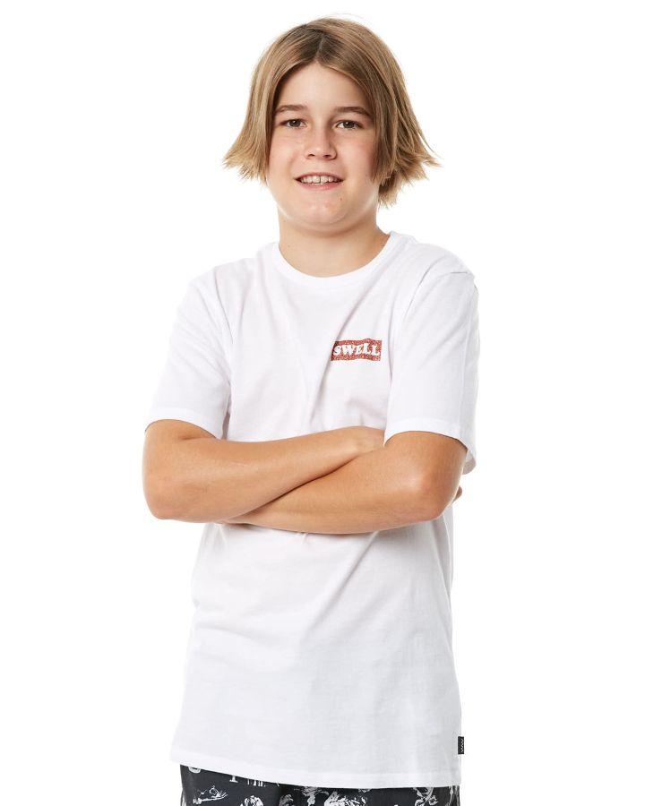 69382e1930fe New Swell Boys Kids Boys Sunset Palms Tee Crew Neck Short Sleeve Cotton  White