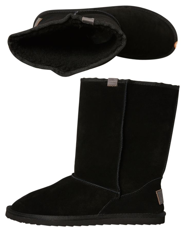 Rip Curl Steamer Lane Black Suede Upper High Cut Silhouette Ugg Boots 9348989009463