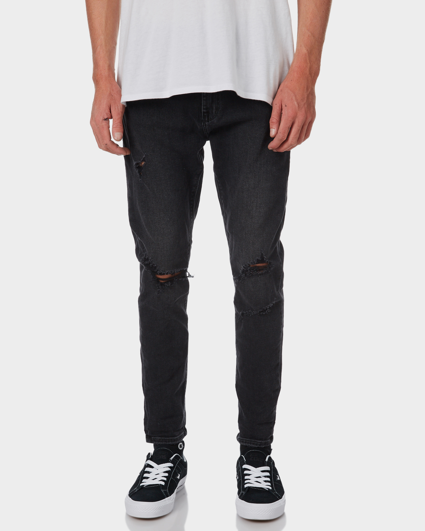 Image of A.Brand A Dropped Skinny Turn Up Mens Jean Crushed Gravel Crushed Gravel