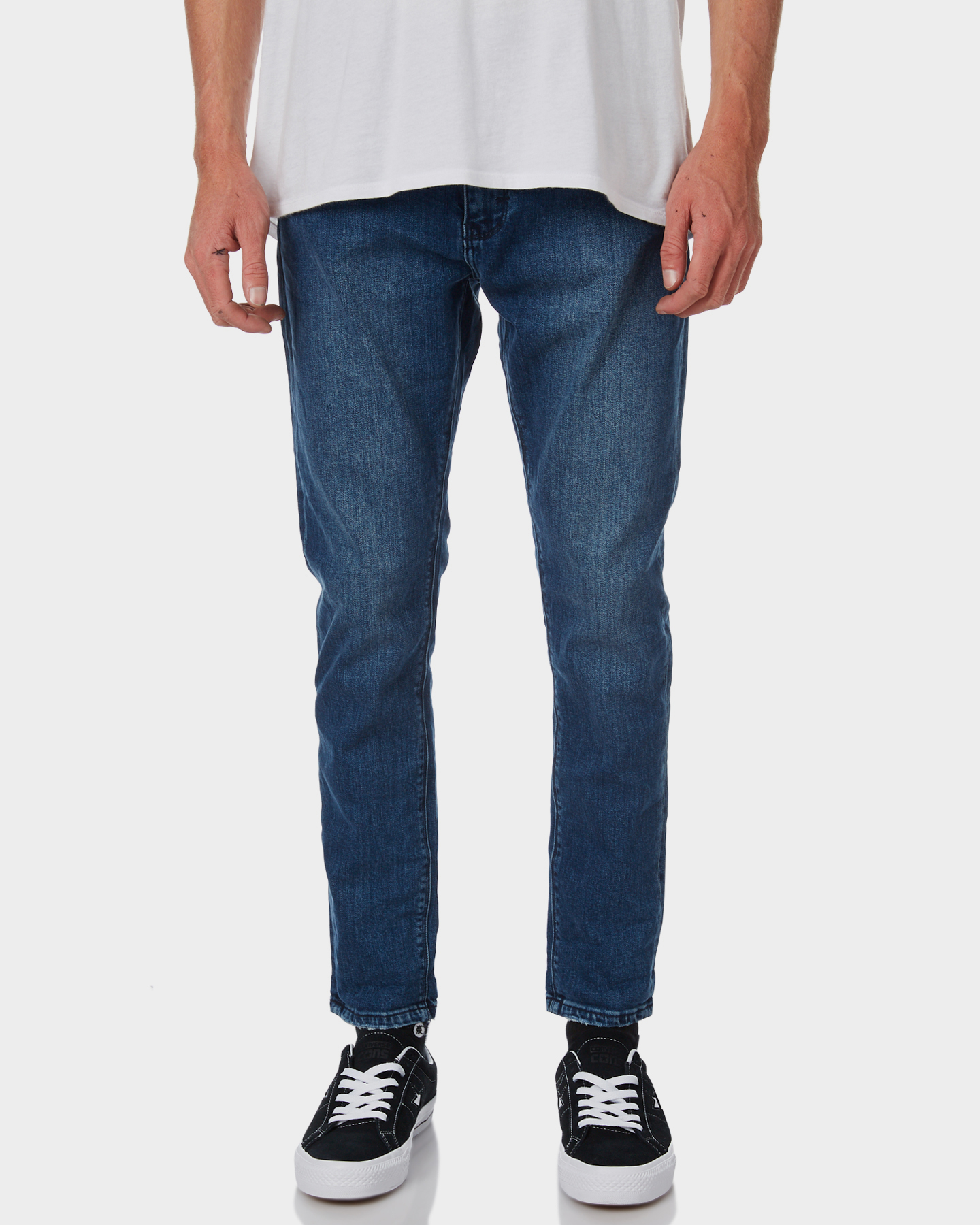 Image of A.Brand A Dropped Skinny Turn Up Mens Jean Rocky Blue