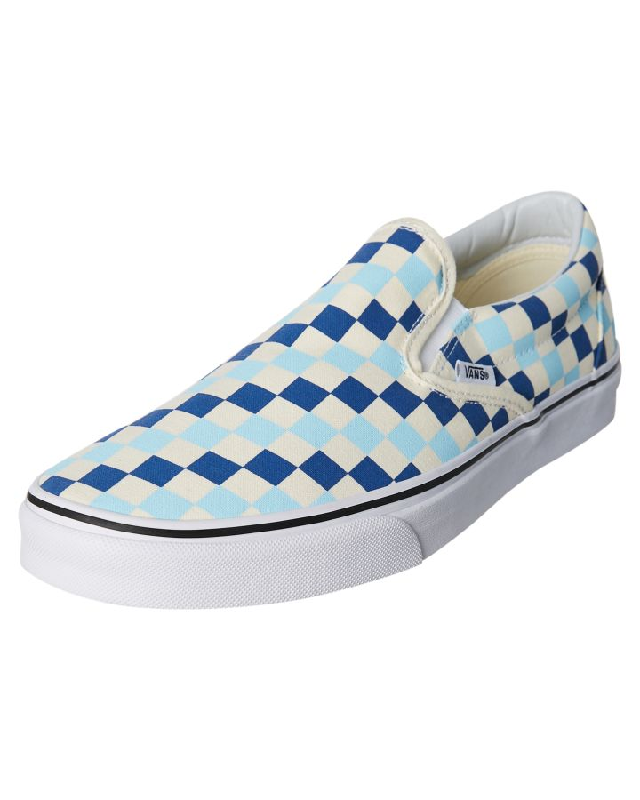 4dc6d96d51 New Vans Men s Classic Slip On Checkerboard Shoe Rubber Canvas Blue Topaz 8