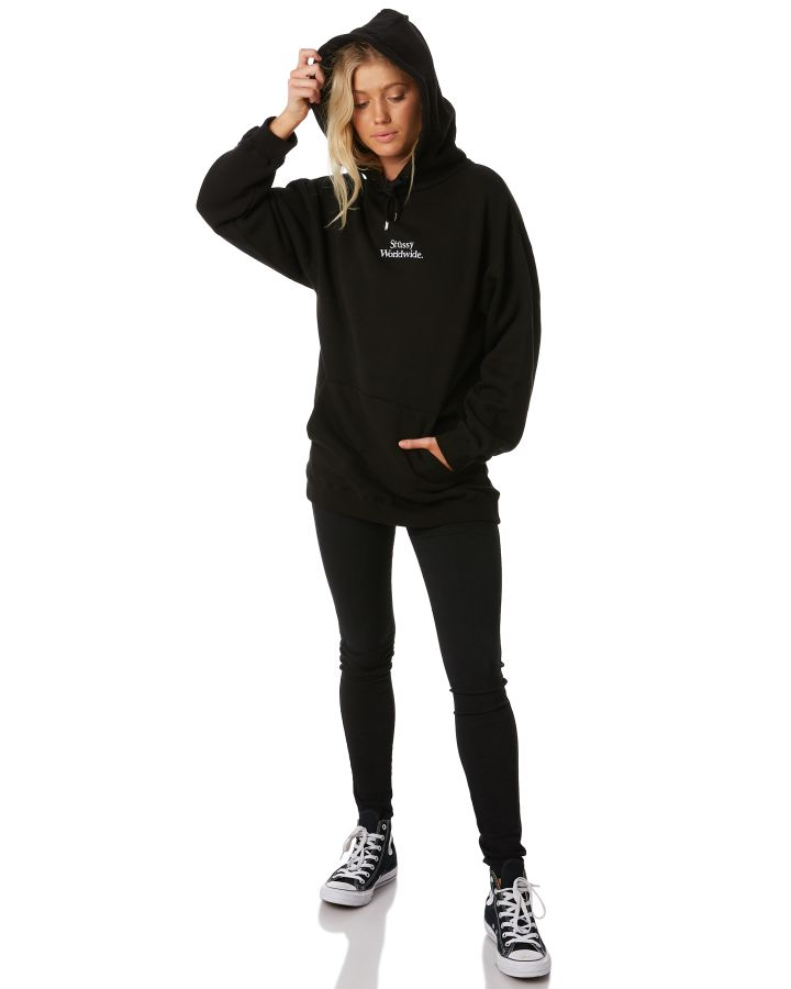 New-Stussy-Women-039-s-Mila-Os-Hoodie-Cotton-Polyester-Black