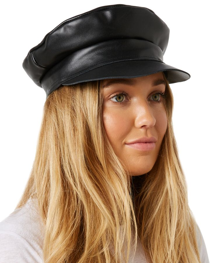 25a3553be04 New Lack Of Color Women s Biker Cap Soft Leather Black L