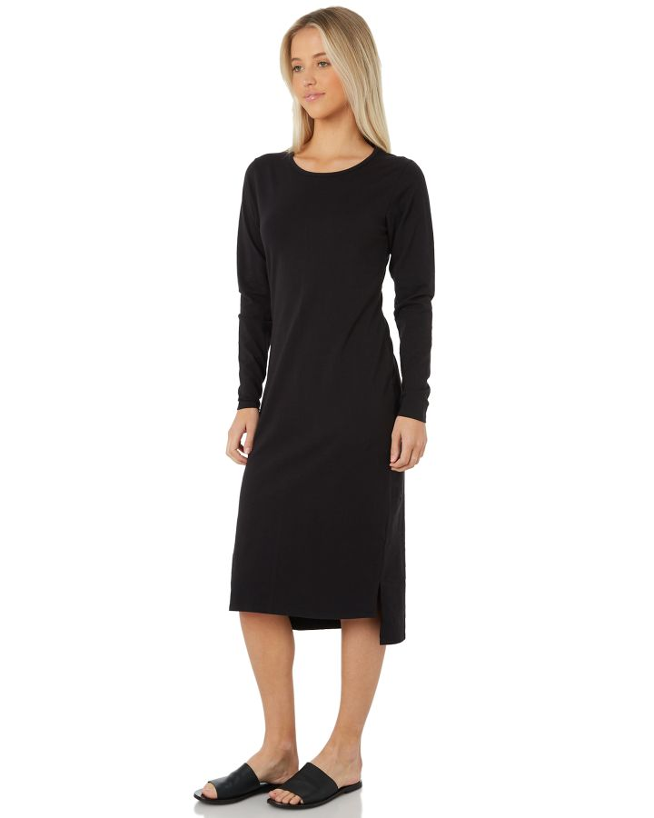 5dd9706c0bbc Swell Women's Essential Long Sleeve Midi Dress Black 9350907135154 ...