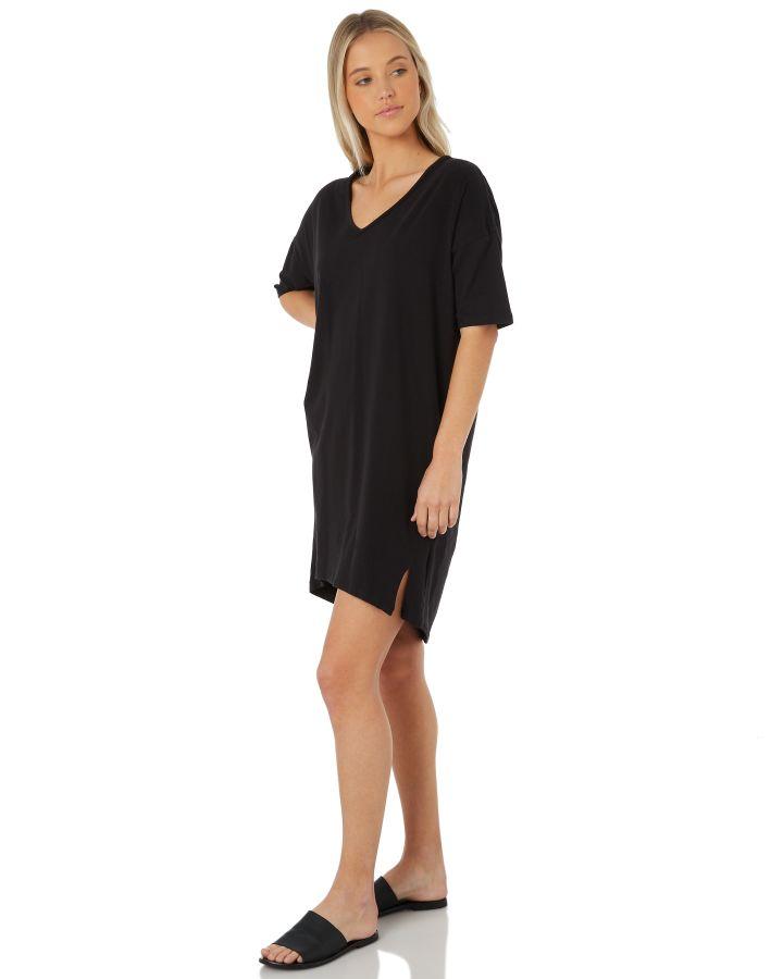 0024c4774679 Swell Women's Plain Harvust Dress V-Neck Cotton Elastane Black | eBay
