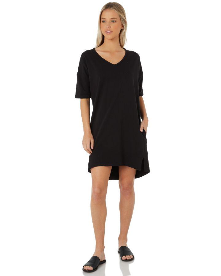 ff6a54469367 Details about Swell Women's Plain Harvust Dress V-Neck Cotton Elastane Black