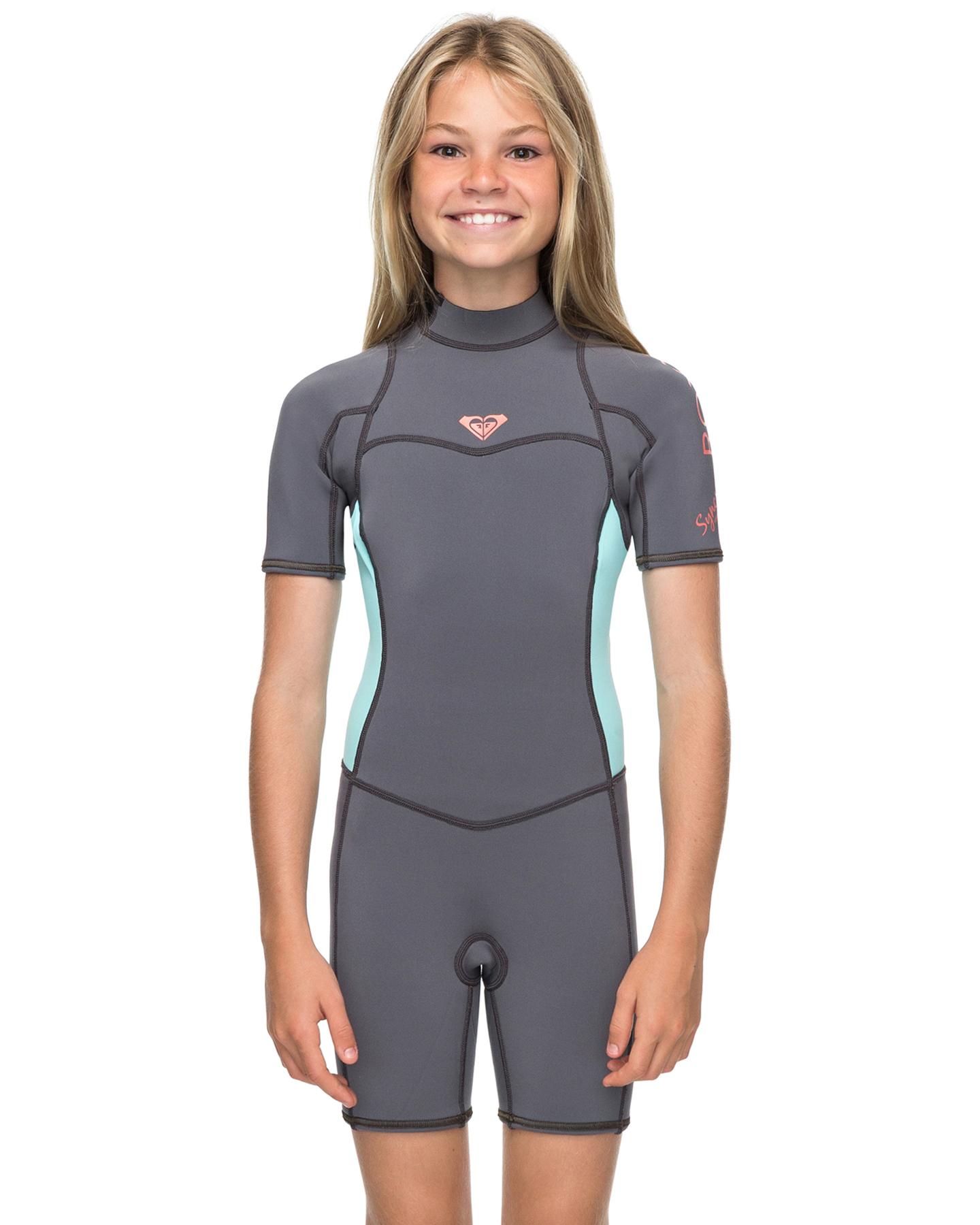 e6d146bb122e Roxy Girls Syncro Series 2Mm Flatlock Back Zip Ss Springsuit Wetsuit Deep  Grey Glace Blue Deep Grey Glace Blue Surfing Wetsuits Size 10 | Budget  Fashion ...