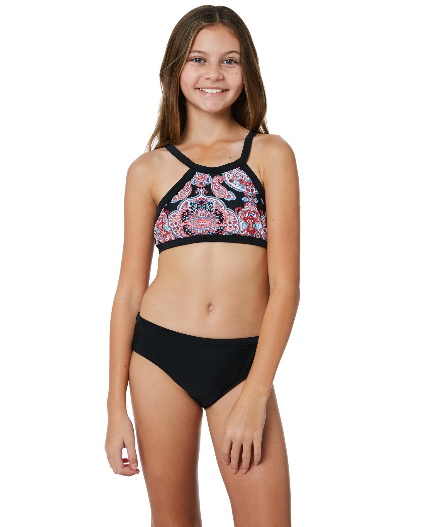 259e20557785f Seafolly Kids Girls Indian Chintz Apron Tankini Black Girls ...