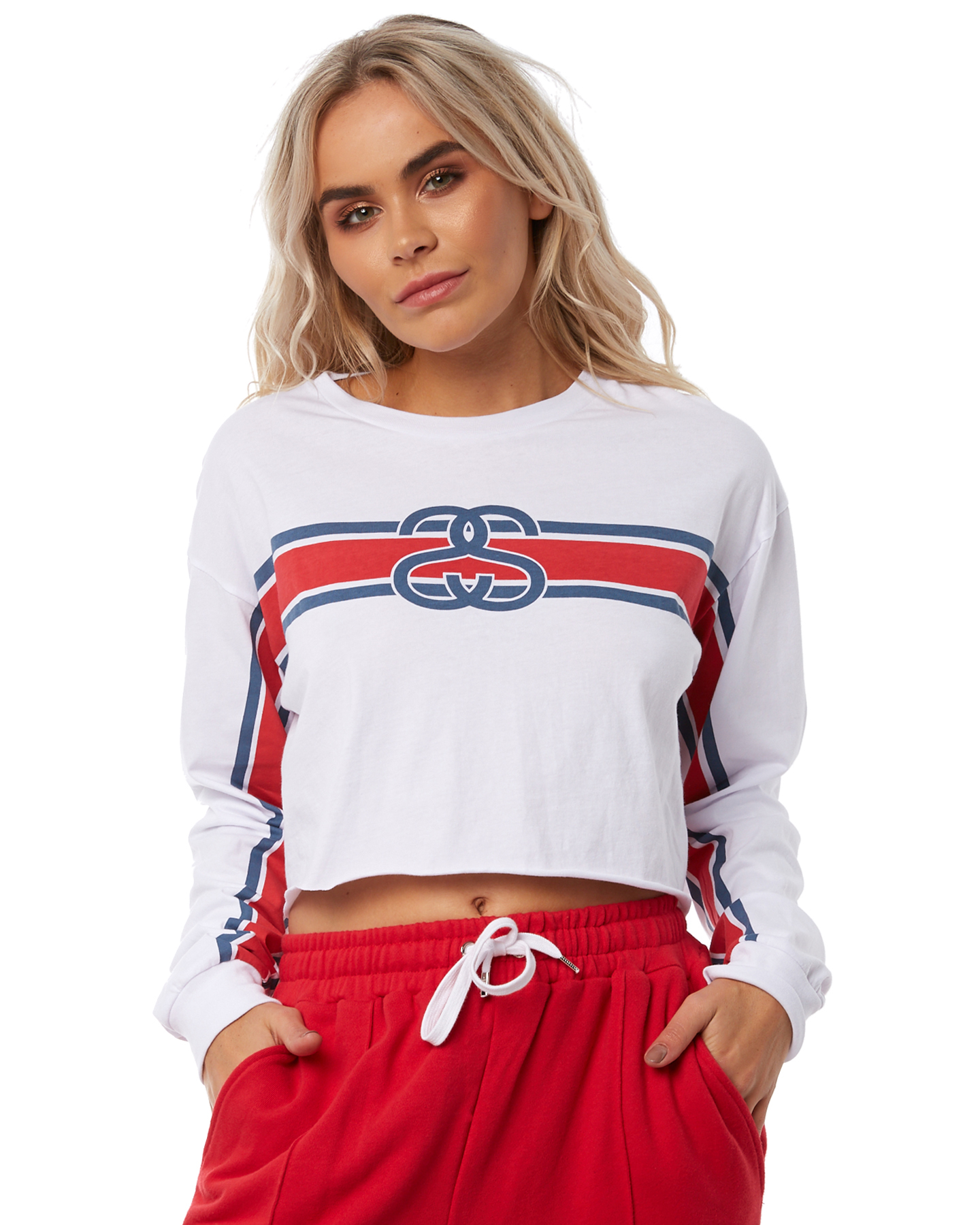 98a8801dd3d Details about Stussy Women s Tracks Crop Ls Tee Crew Neck Long Sleeve  Cotton White