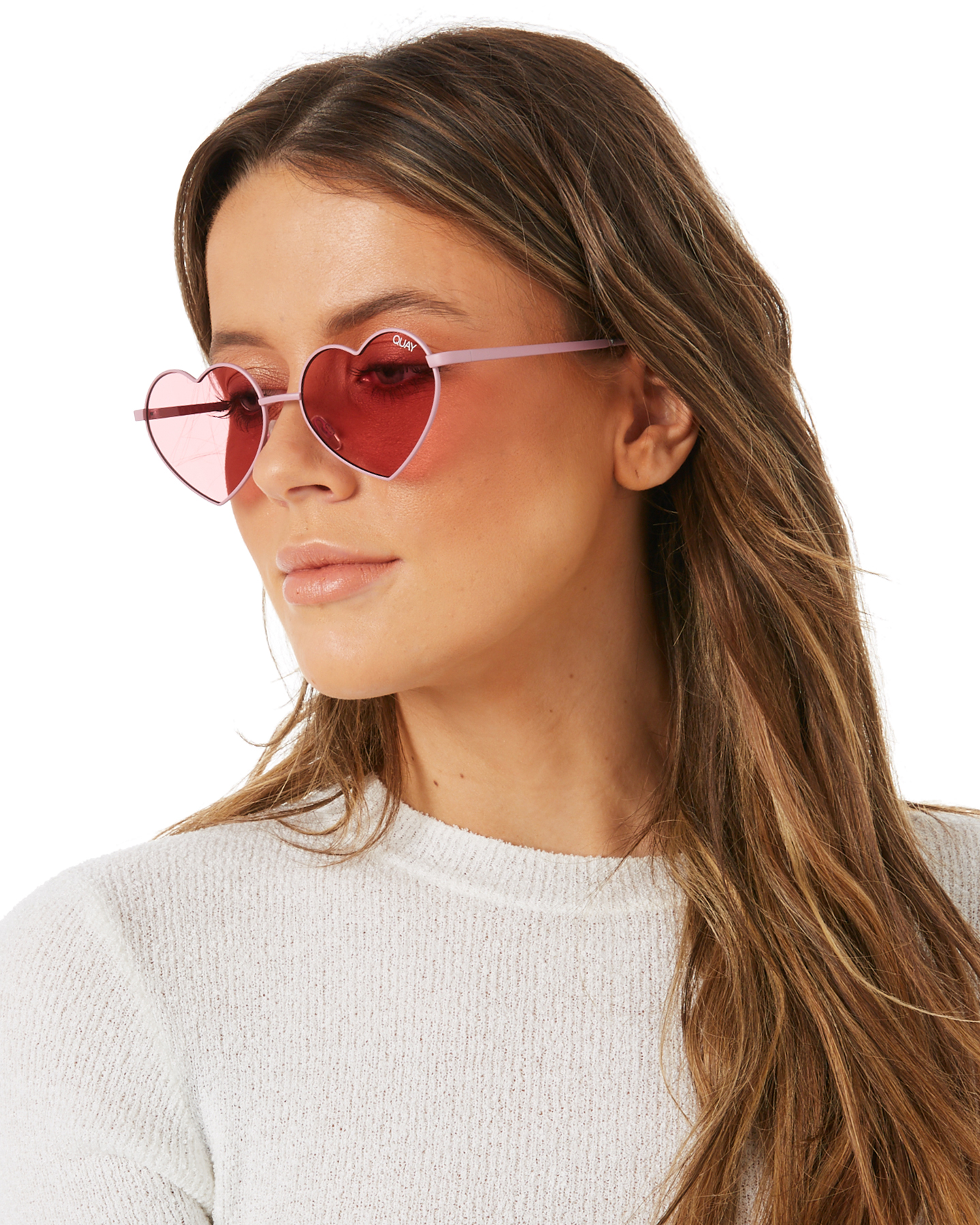 8902327c3b Quay Eyewear Women s Heartbreaker Sunglasses Stainless Steel Glass Pink