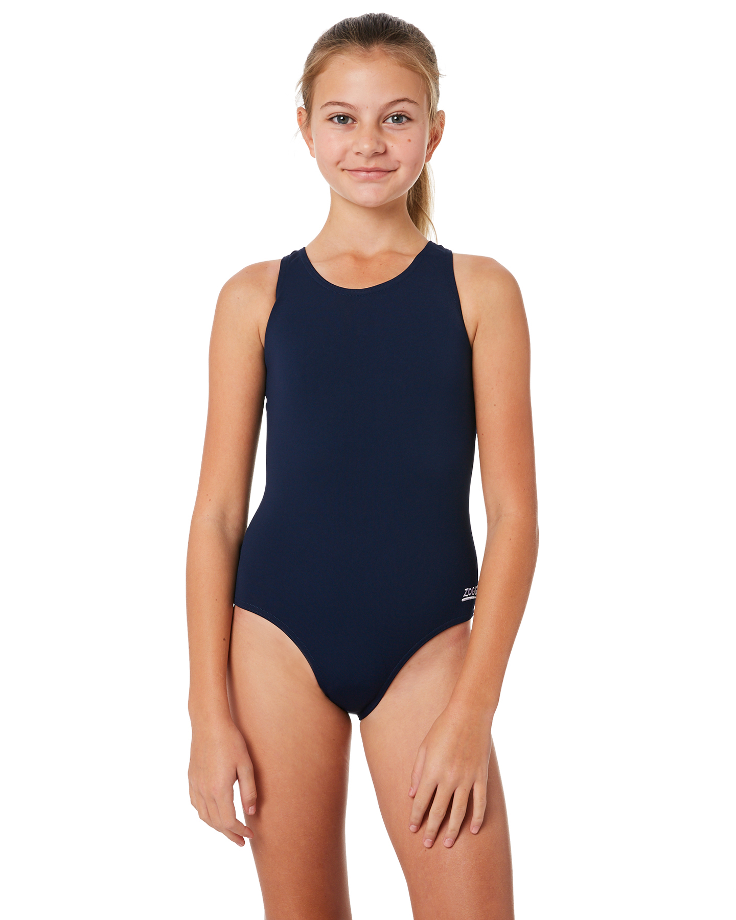 4d9ede42184 Zoggs Kids Girls Cottesloe One Piece Navy Navy Girls swimsuits Size ...