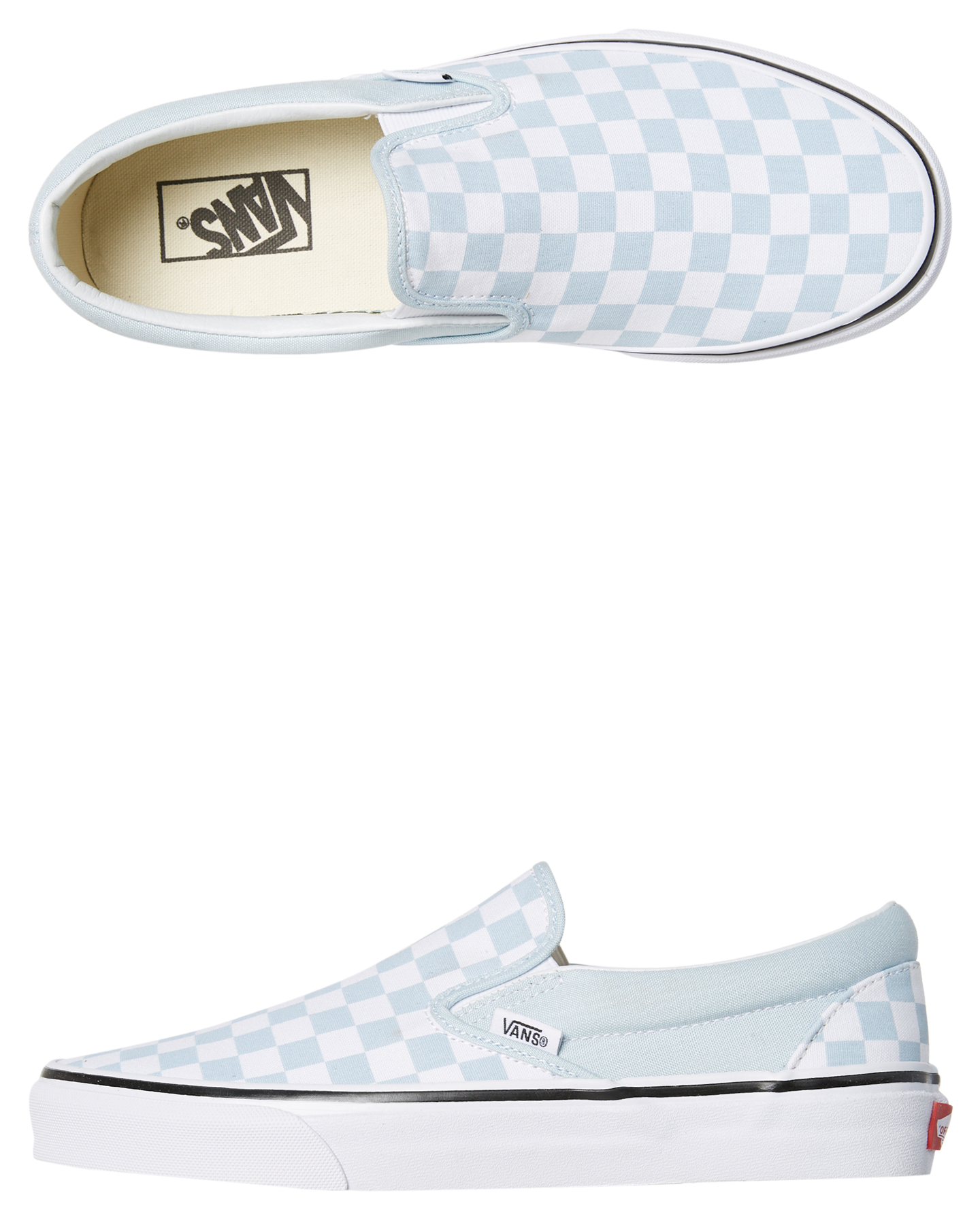 Vans Womens Classic Slip On Shoe Baby Blue Womens Slippers