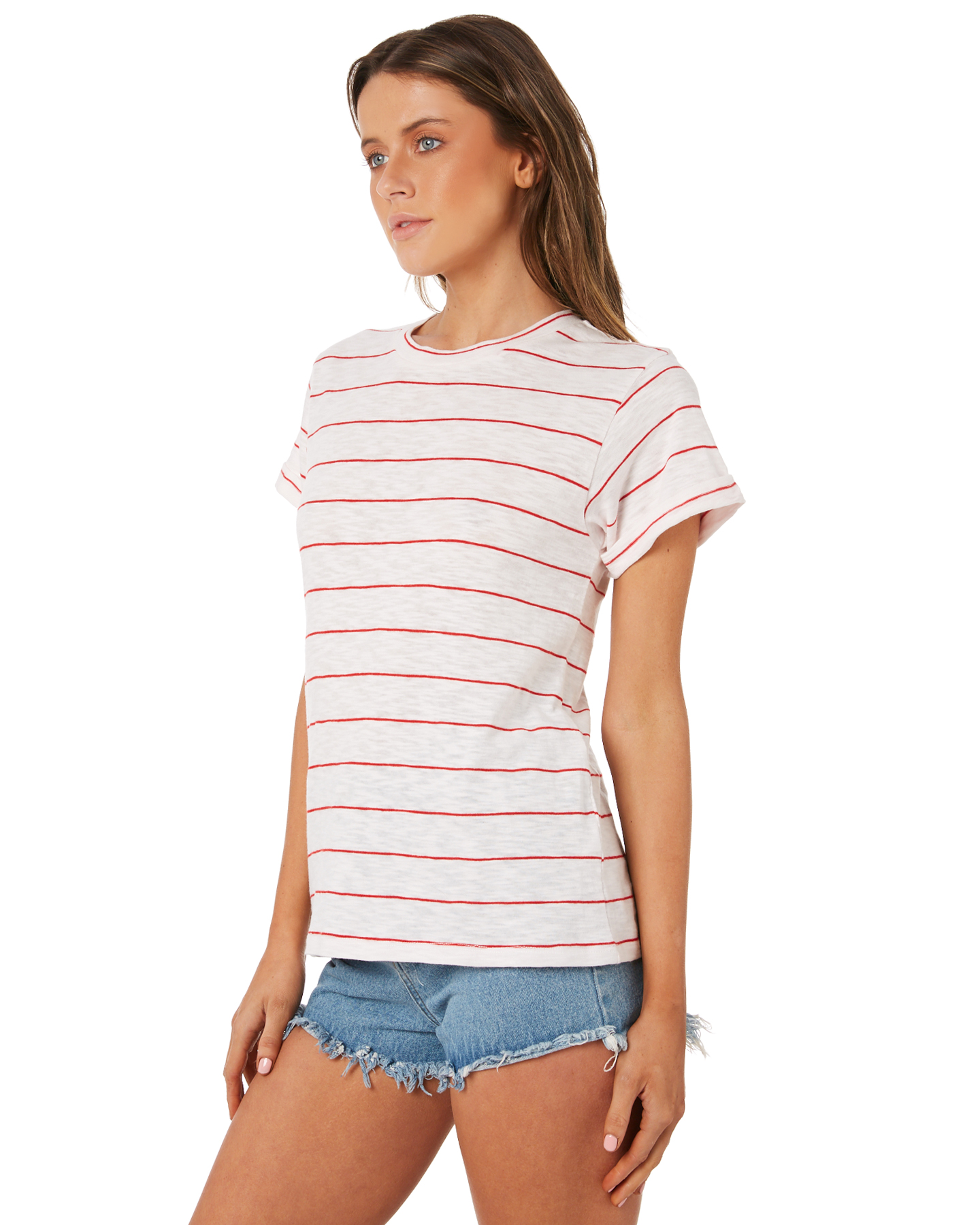 New-Swell-Women-039-s-Ginger-Boyfriend-Tee-Crew-Neck-Short-Sleeve-Cotton-Red thumbnail 12