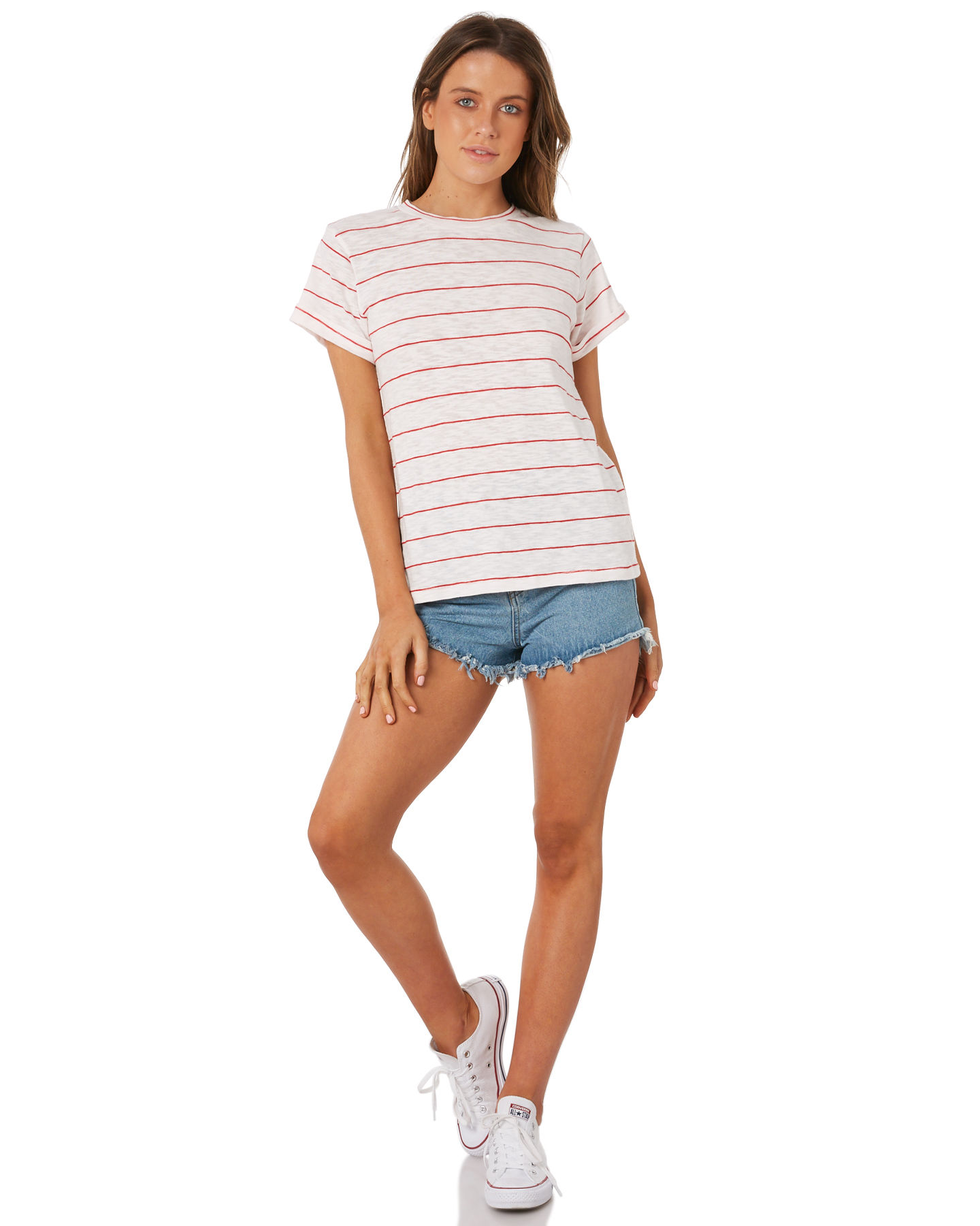 New-Swell-Women-039-s-Ginger-Boyfriend-Tee-Crew-Neck-Short-Sleeve-Cotton-Red thumbnail 15