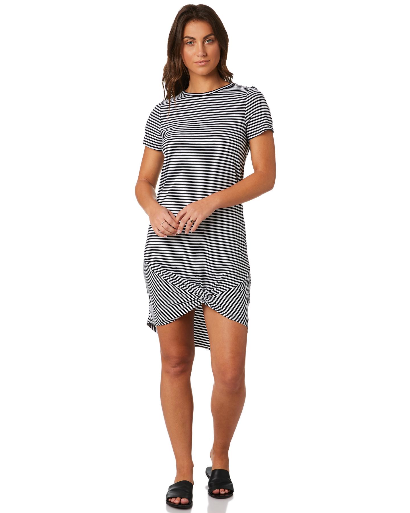 6070696077 Silent Theory Twisted Tee Dress Black White Stripe Womens dresses ...