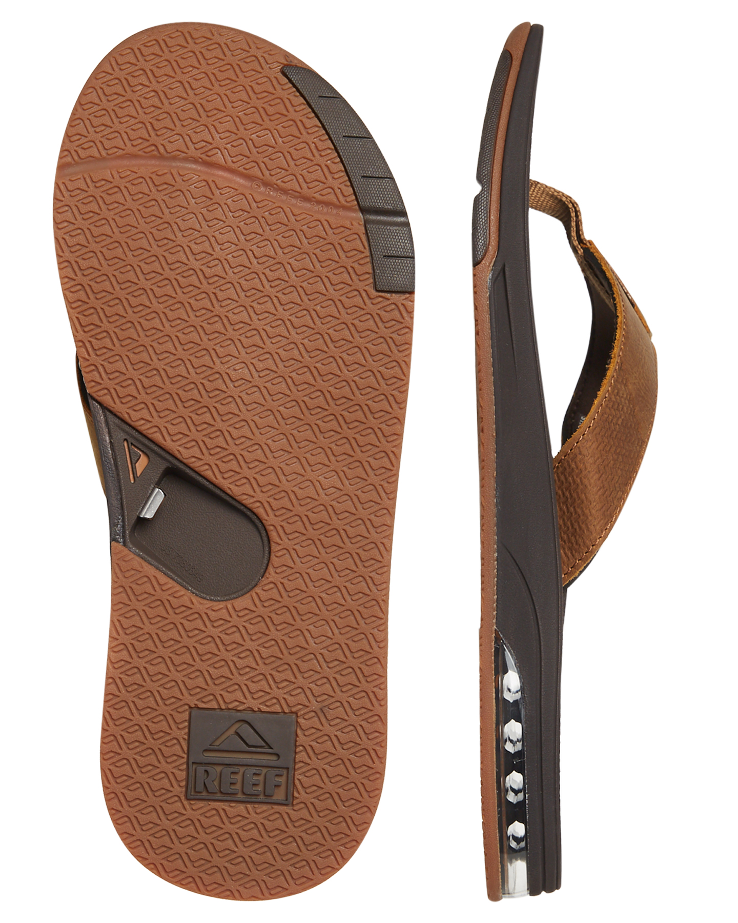03c188d017d0 New Reef Men s Leather Fanning Low Thong Rubber Waterproof Leather Brown 13