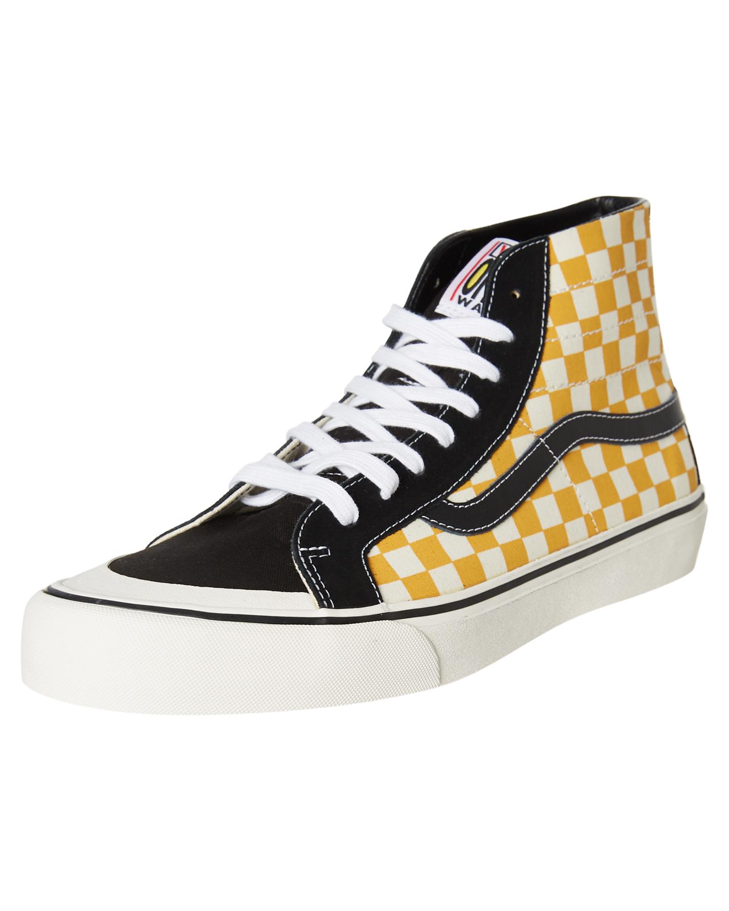 8fb66ea8f5 Vans Men s Sk8 Hi 138 Decon Sf Surf Check Shoe Rubber Canvas Black  Sunflower 10