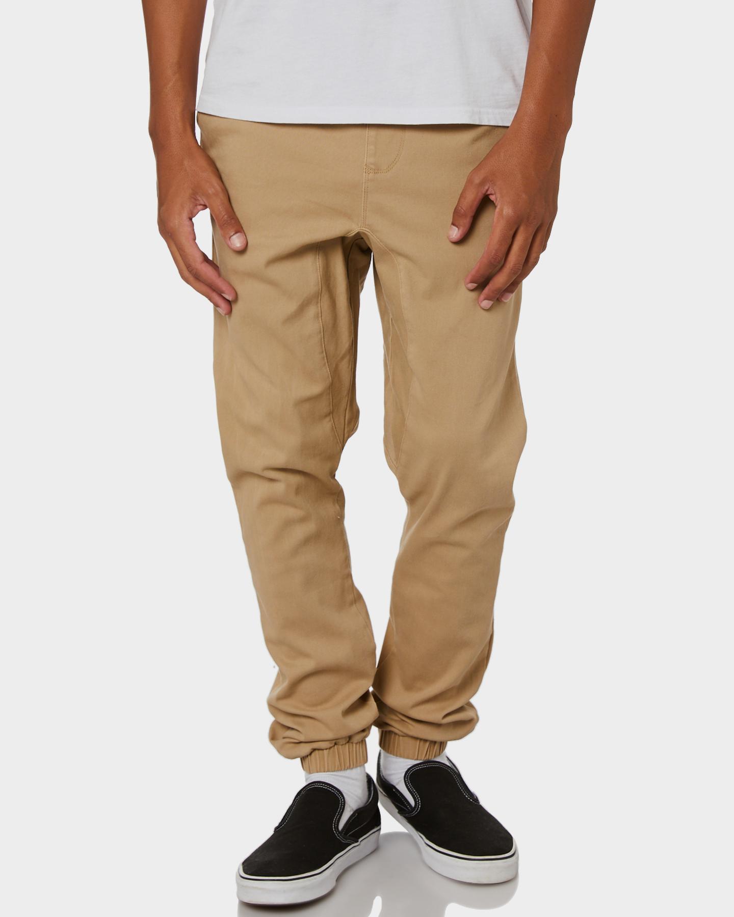 Rusty Cotton Spandex Fennel Elastic Cuffs Drop Crotch Mens Chino Pants Fennel