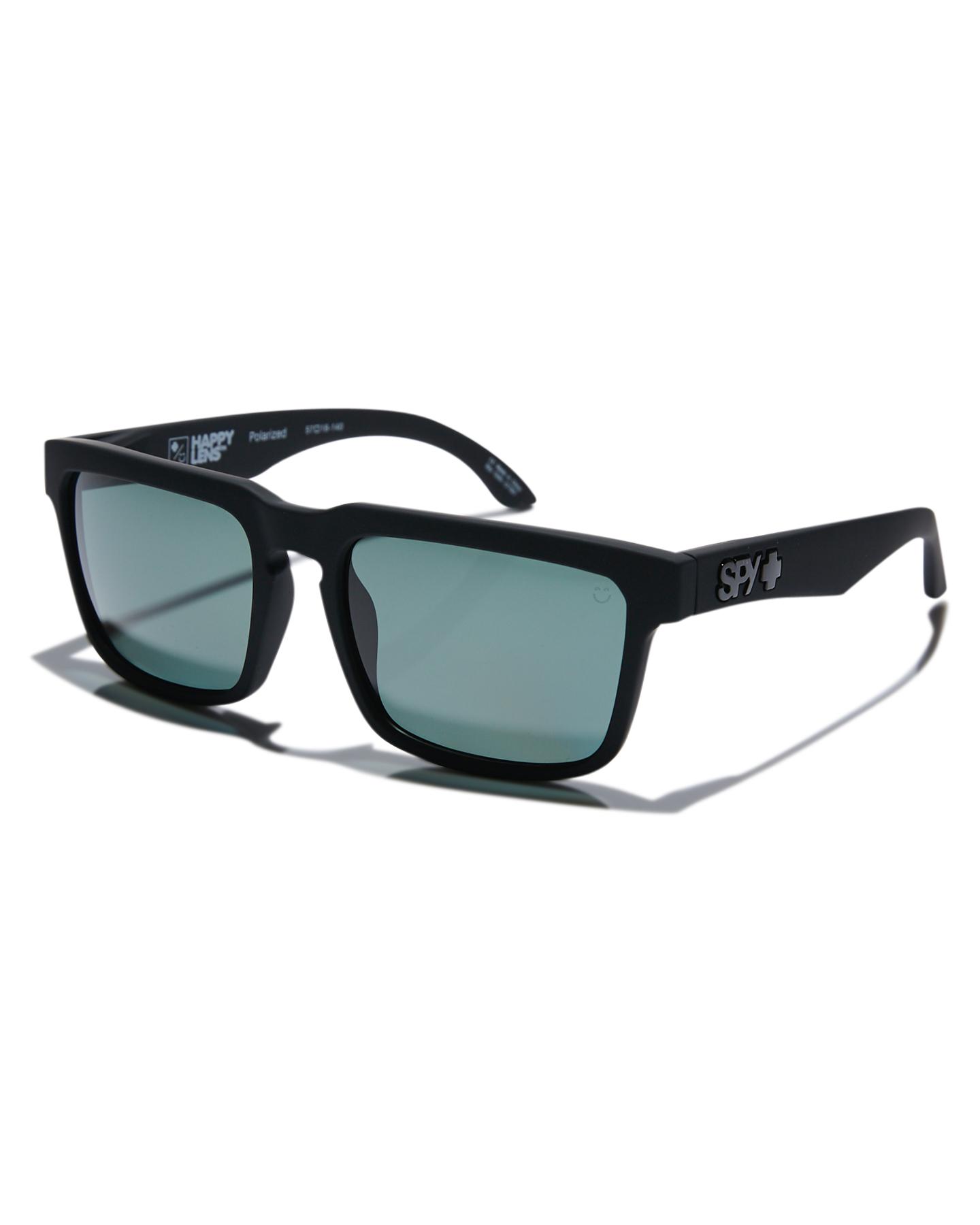 Sunglasses Soft Happy Black Matte Polarised Mens Lens Spy Atlas PkuZiX