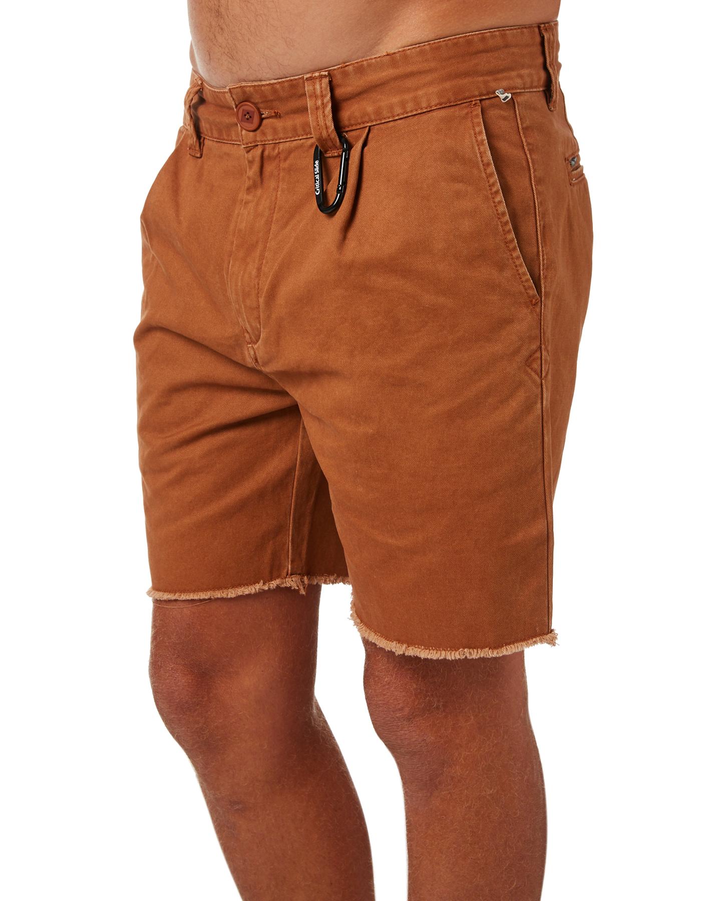 New-The-Critical-Slide-Society-Men-039-s-Beachnik-Mens-Short-Cotton-Fitted-Brown