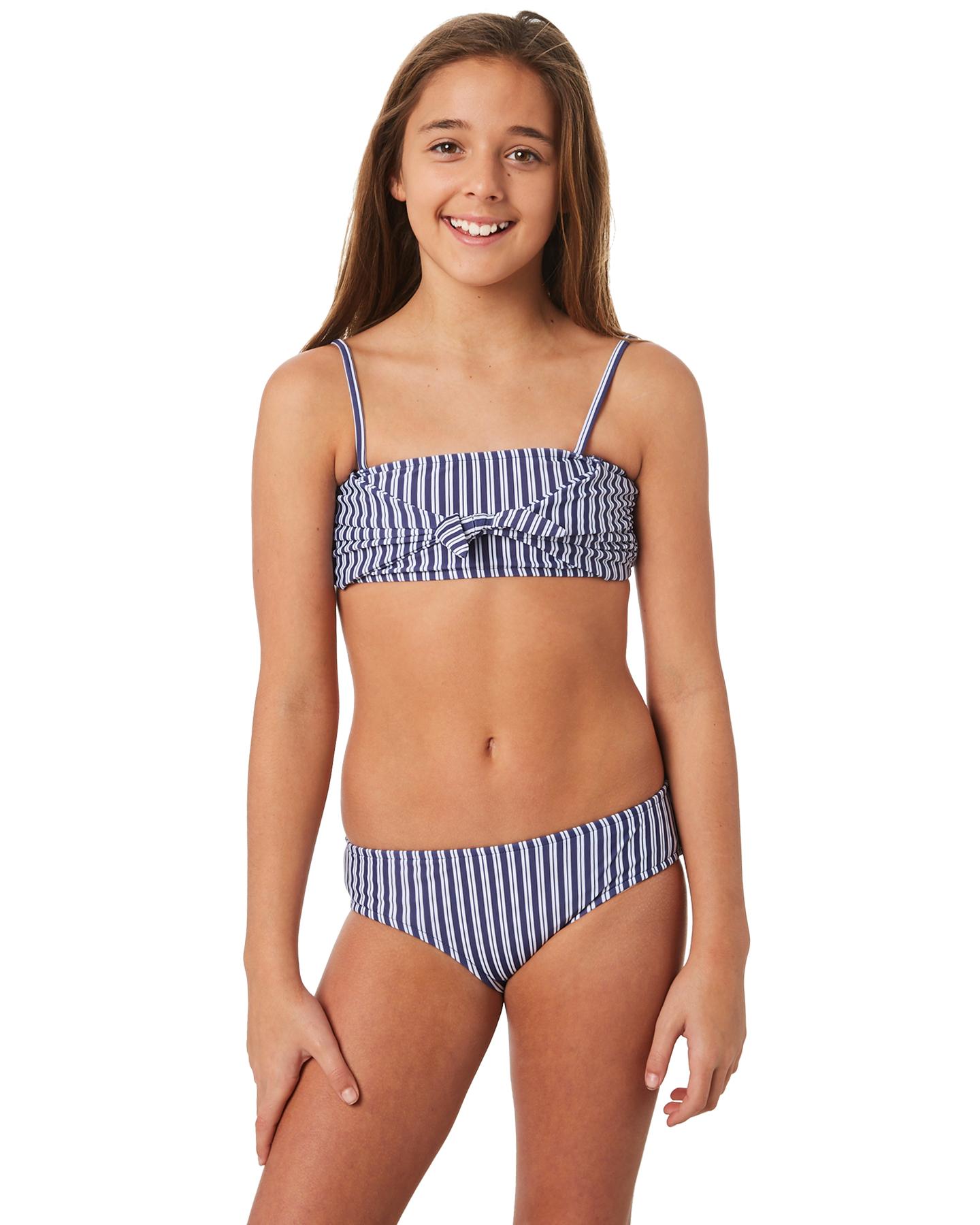 596583111b639 Seafolly Kids Girls Ocean Tapestry Tube Bikini Indigo Stripe Indigo Stripe