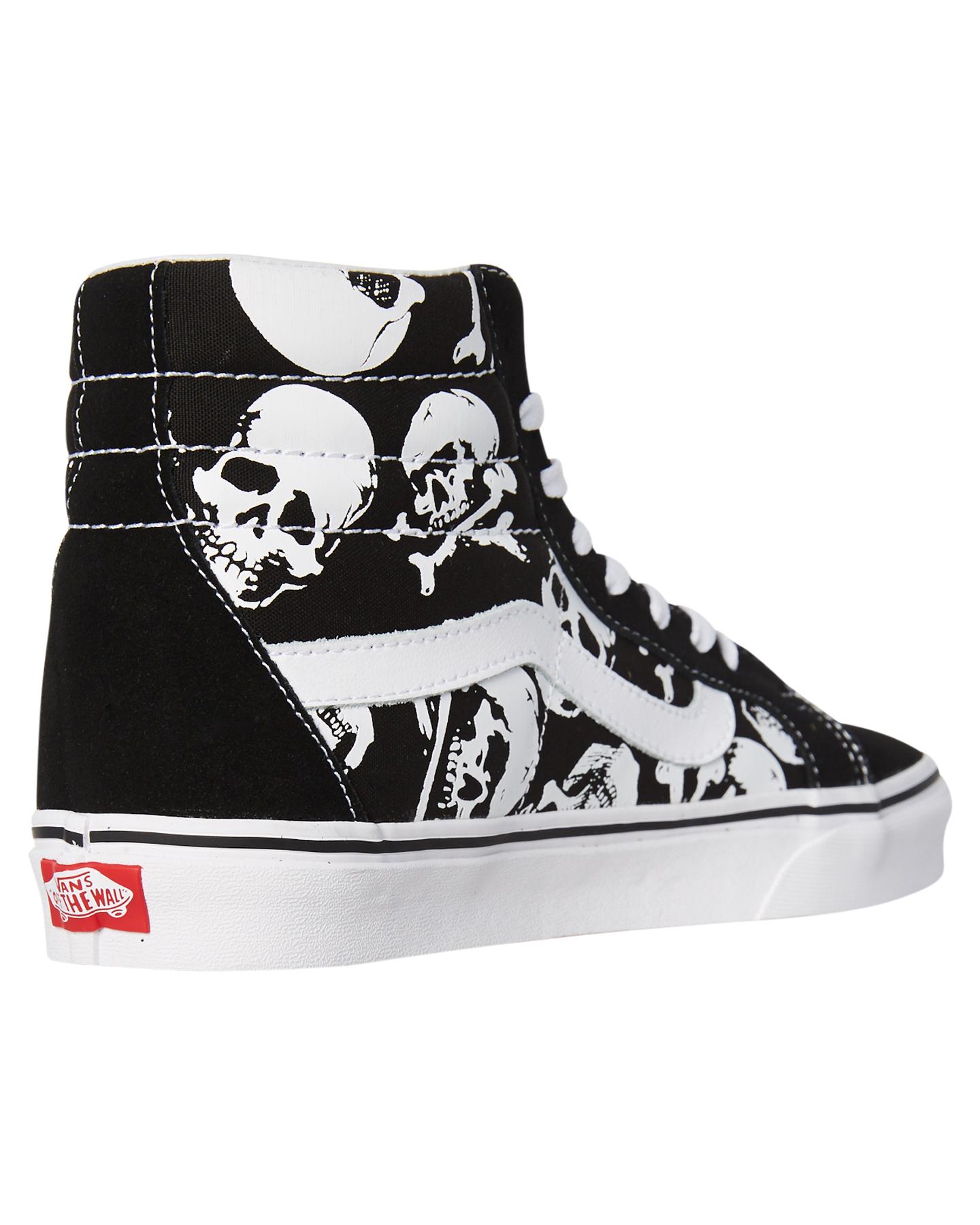 e574113522 New Vans Men s Mens Sk8 Hi Reissue Skulls Shoe Lace Canvas Black
