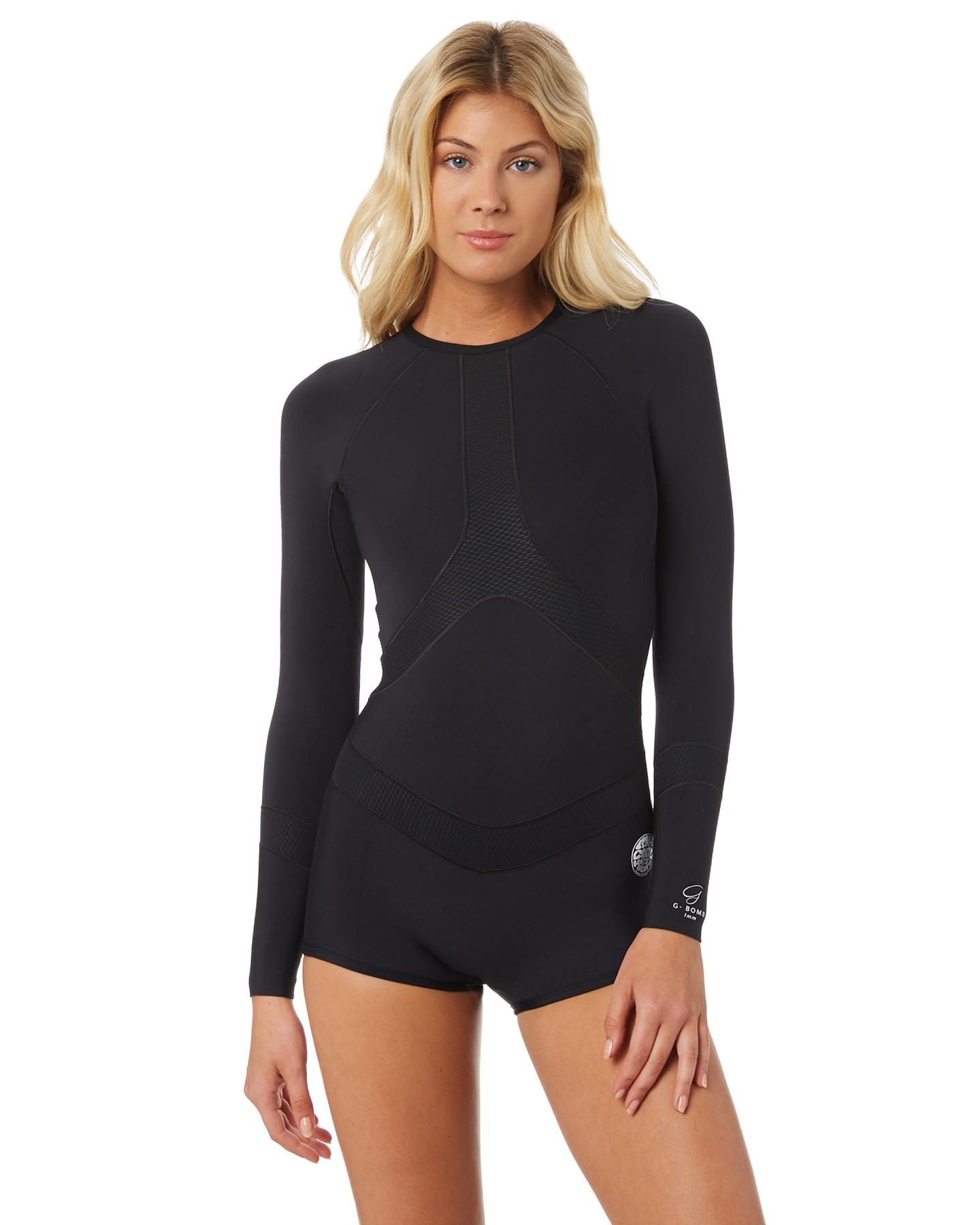 Womens Swimwear One Piece Boyleg Wetsuit Black