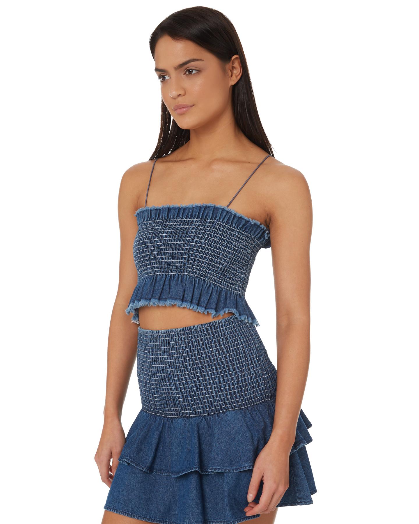 e9642aabdd New Rvca Women s Scrunchie Tube Cotton Chambray Blue