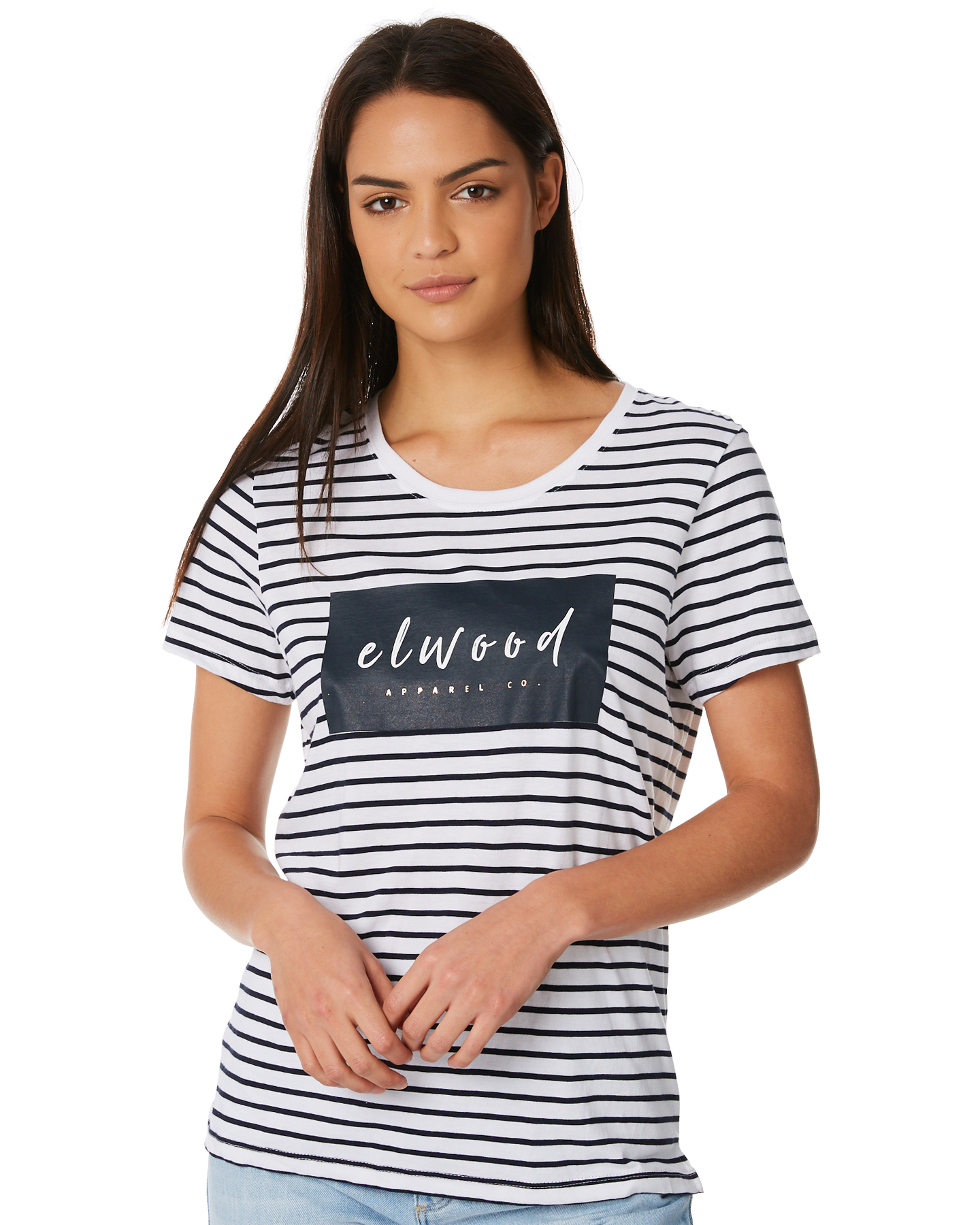 7176ba18257 New Elwood Women's Jenna Tee Short Sleeve Cotton Soft Rayon Stripe ...