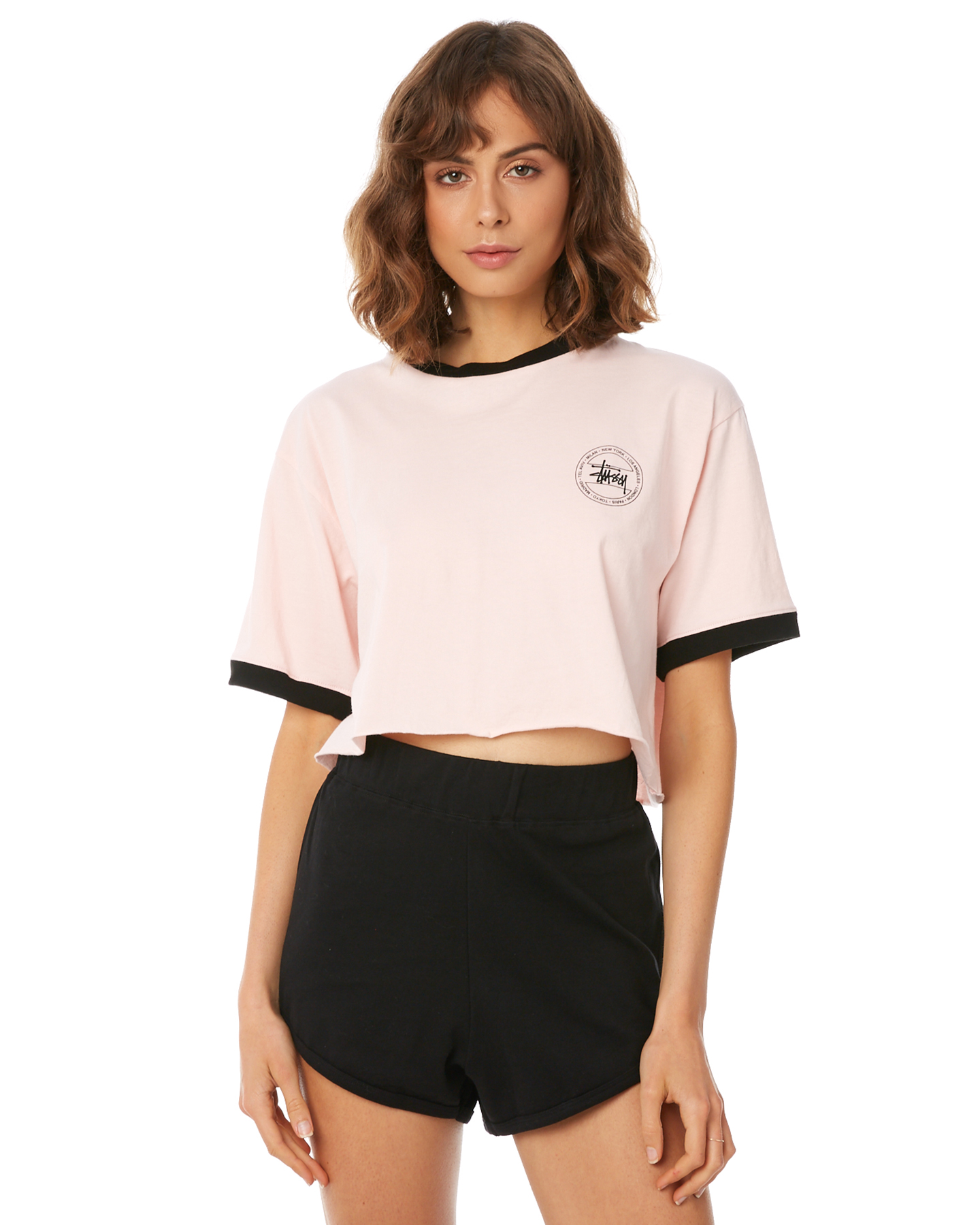 Stussy Women s Laguna Crop Ringer Tee Cotton Soft Pink 9347385917426 ... c95874994