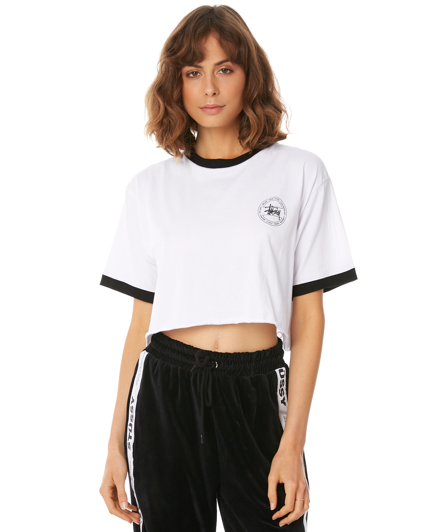 Stussy Women s Laguna Crop Ringer Tee Cotton White 9347385917464  975bca113a