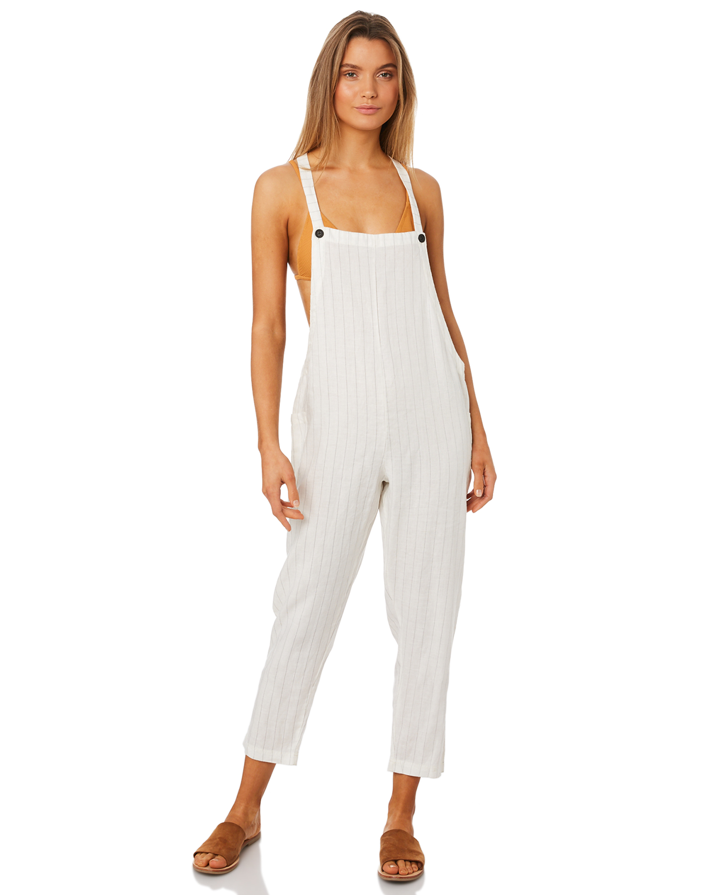 eaedd286e1a New Rhythm Women s Catalina Jumpsuit Linen White 6