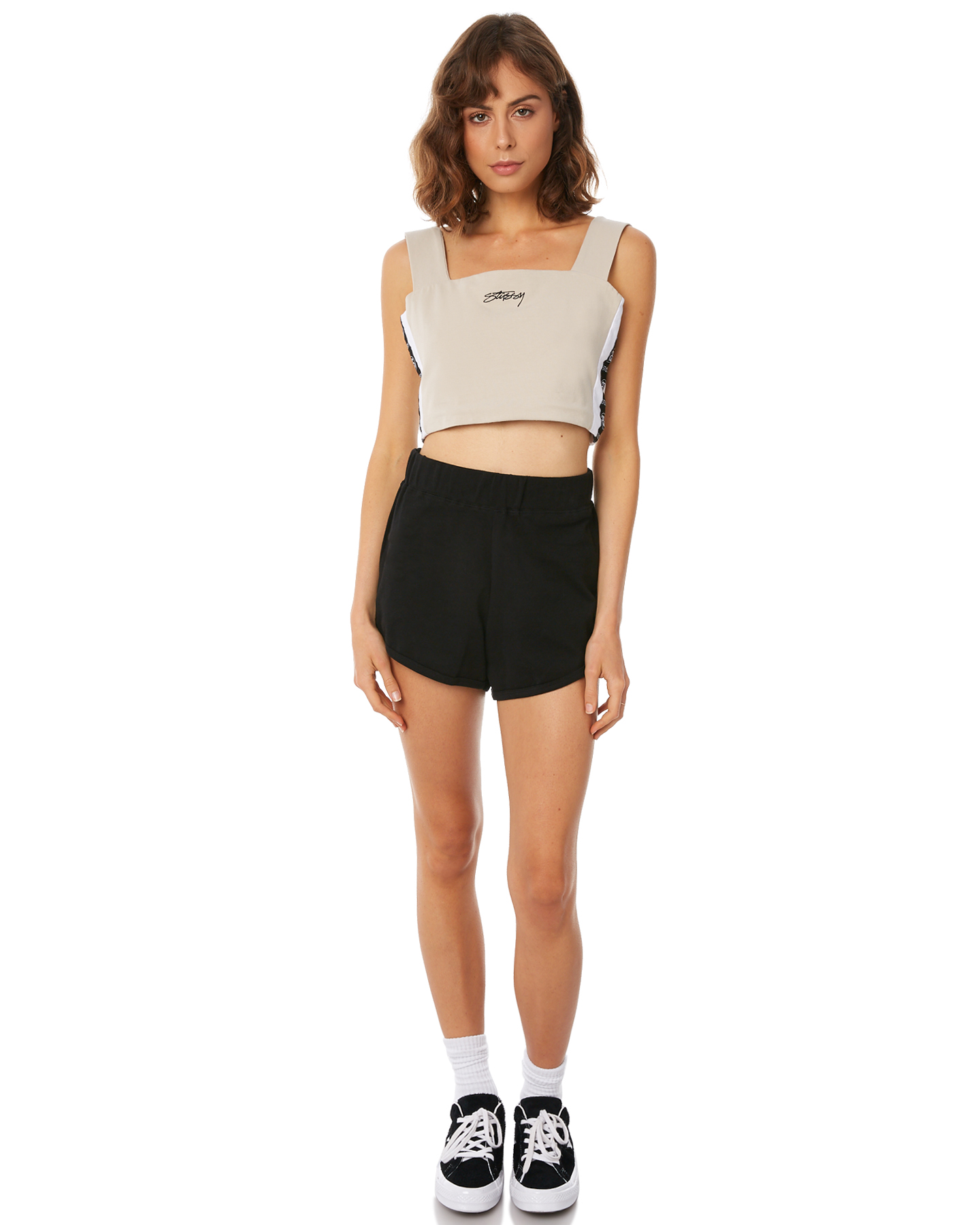 8623468011 Stussy Women s Alessi Tank Cotton Fitted Elastane Grey
