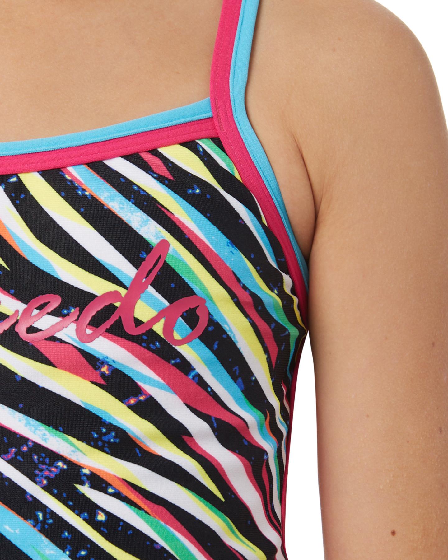 17e5ea0f23fe5 Speedo Girls Girls Zebra Streak Sierra One Piece Lace Fitted