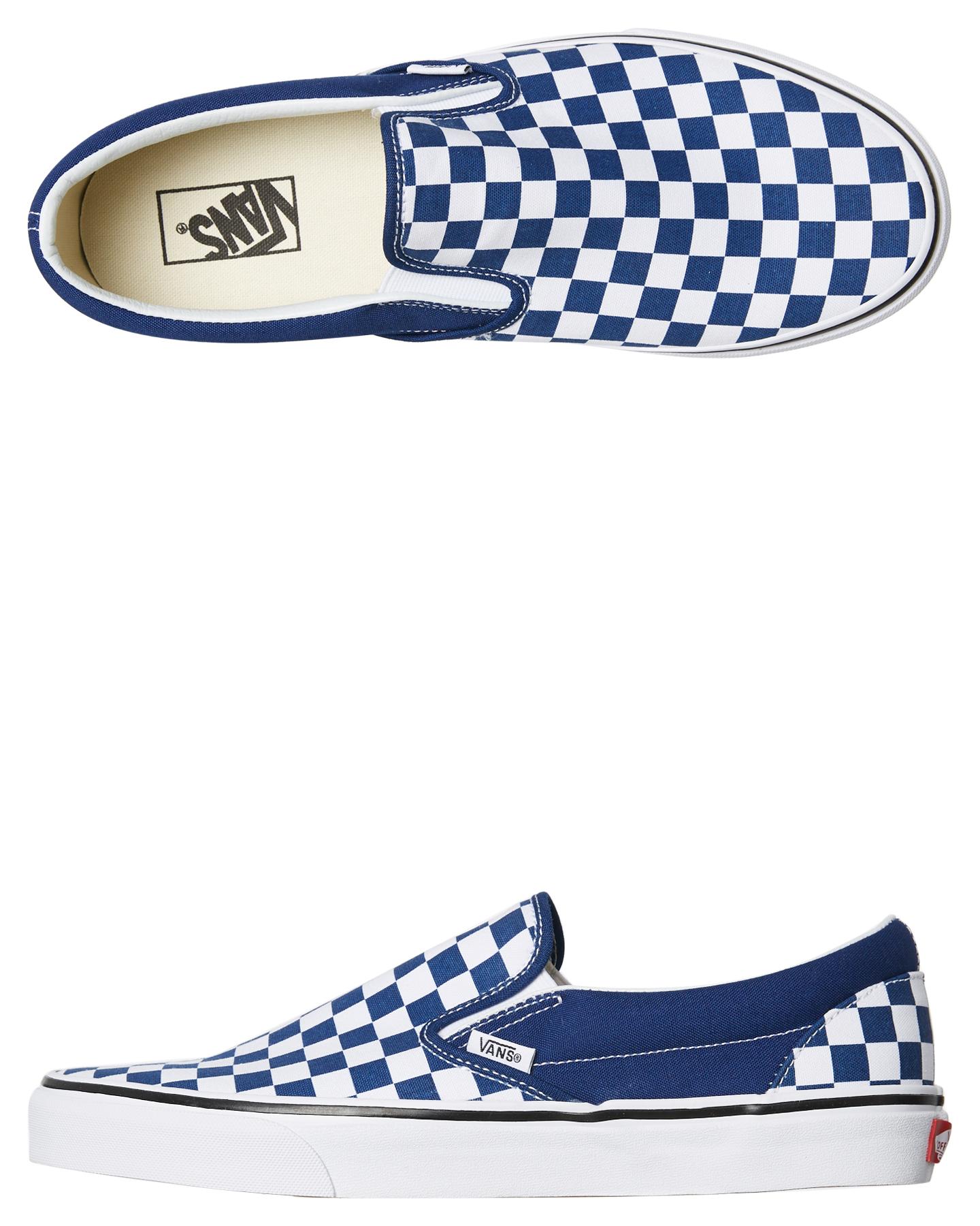 549d05e260 Details about New Vans Skate Men s Mens Classic Slip On Checkerboard Shoe  Rubber Canvas Blue