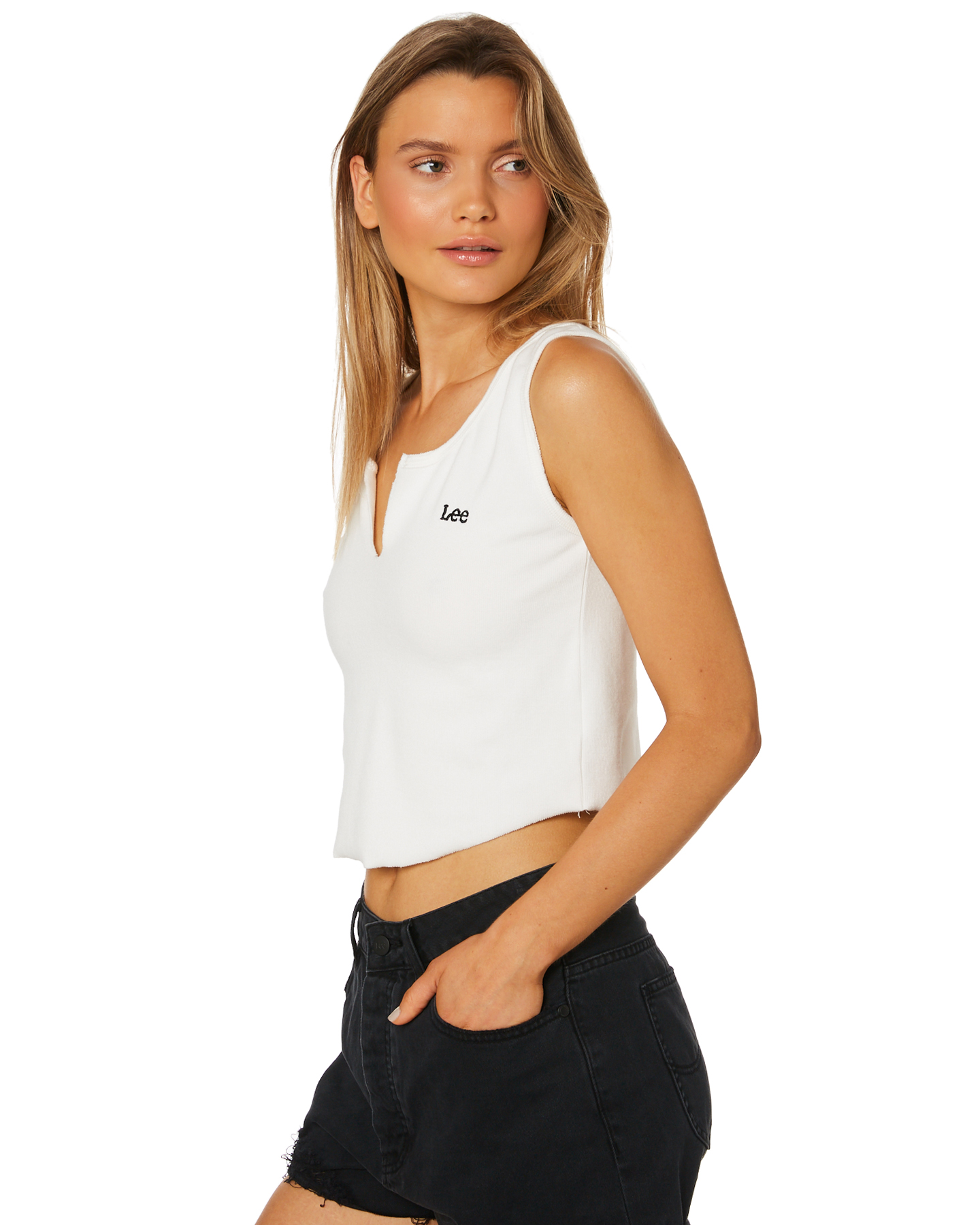 e68b1c90da New Lee Women s Kate Rib Crop Top Cotton Stretch Elastane White