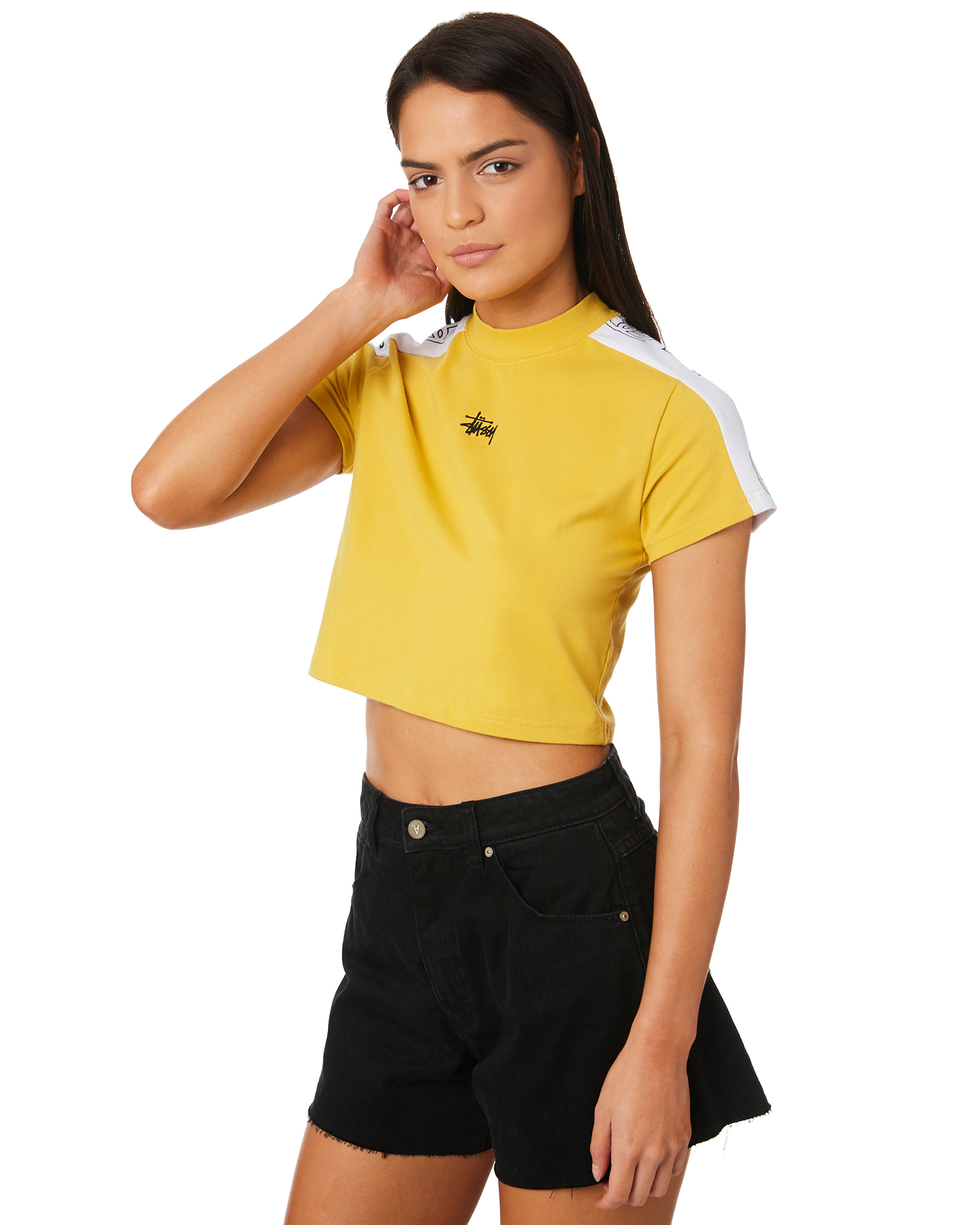 0d5329fed2 Stussy Women s Vita Crop Tee Crew Neck Short Sleeve Cotton Elastane Yellow