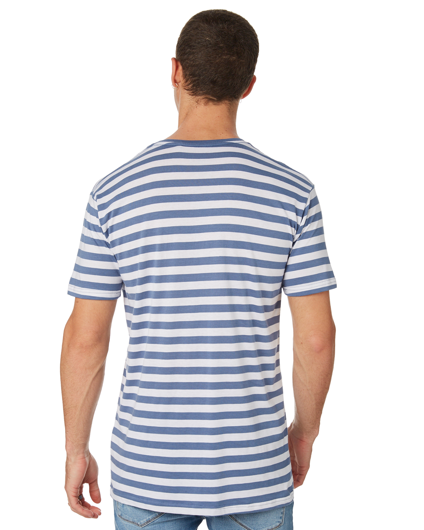 fb80aa06be Silent Theory Men's Valley Stripe Mens Tee Blue 9335673327309 | eBay