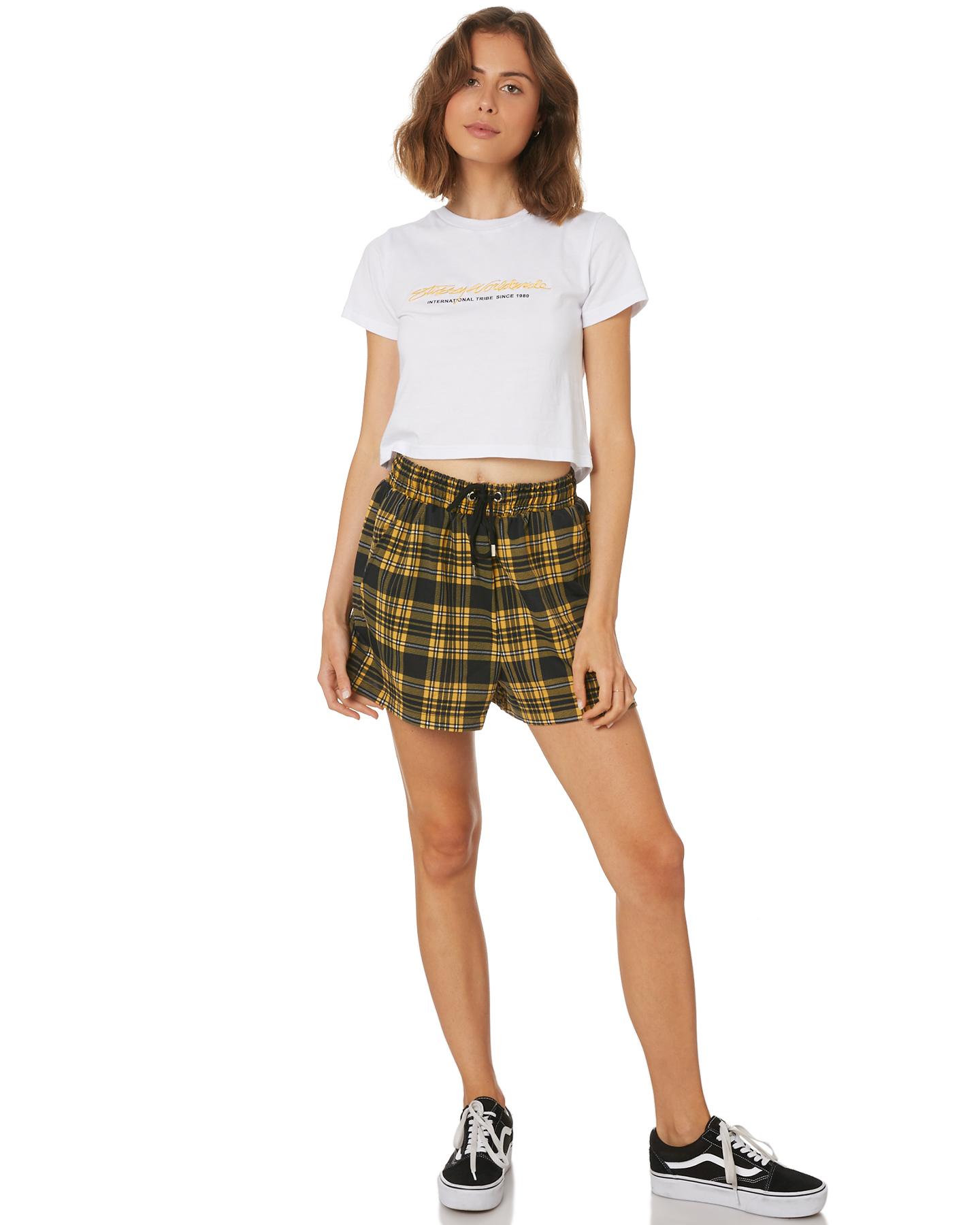 12c4b532b1e Details about Stussy Women s Lover Crop Tee Crew Neck Short Sleeve Cotton  White