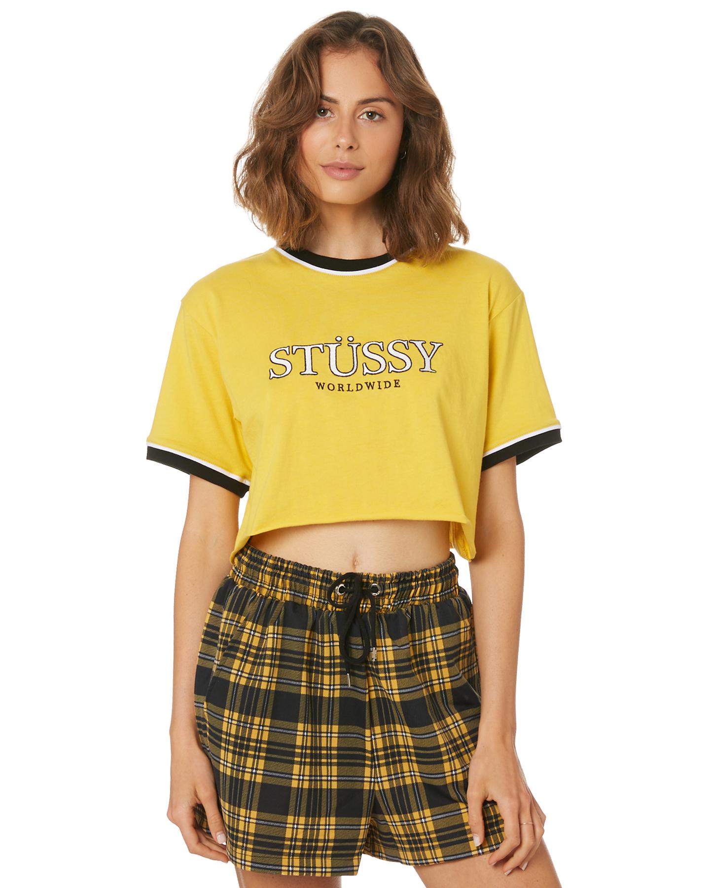afe34c1df4 Stussy Women s Oscar Crop Ringer Crew Neck Short Sleeve Cotton Yellow